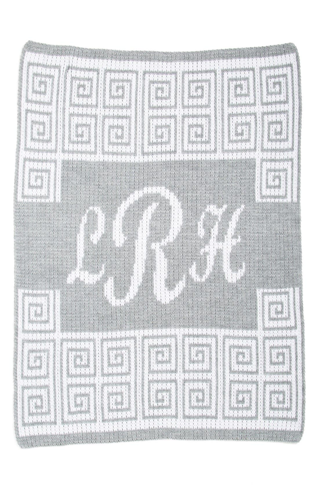 'Script' Personalized Blanket,                             Main thumbnail 1, color,                             HEATHER GREY/ OFF WHITE