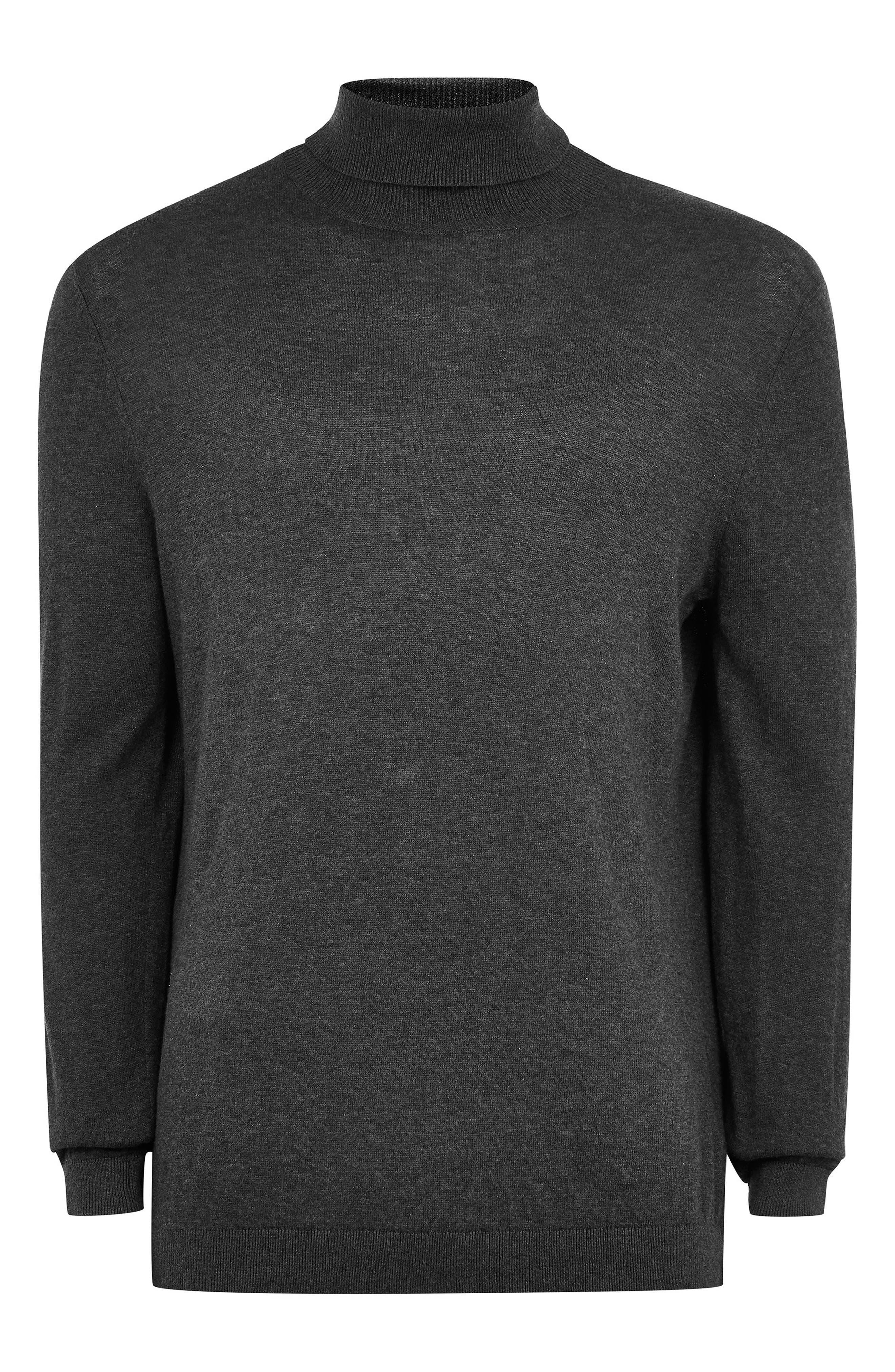 Classic Fit Turtleneck Sweater,                             Alternate thumbnail 4, color,                             DARK GREY