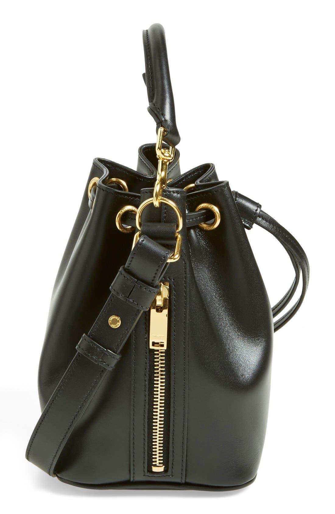 'Small' Calfskin Leather Bucket Bag,                             Alternate thumbnail 6, color,                             001