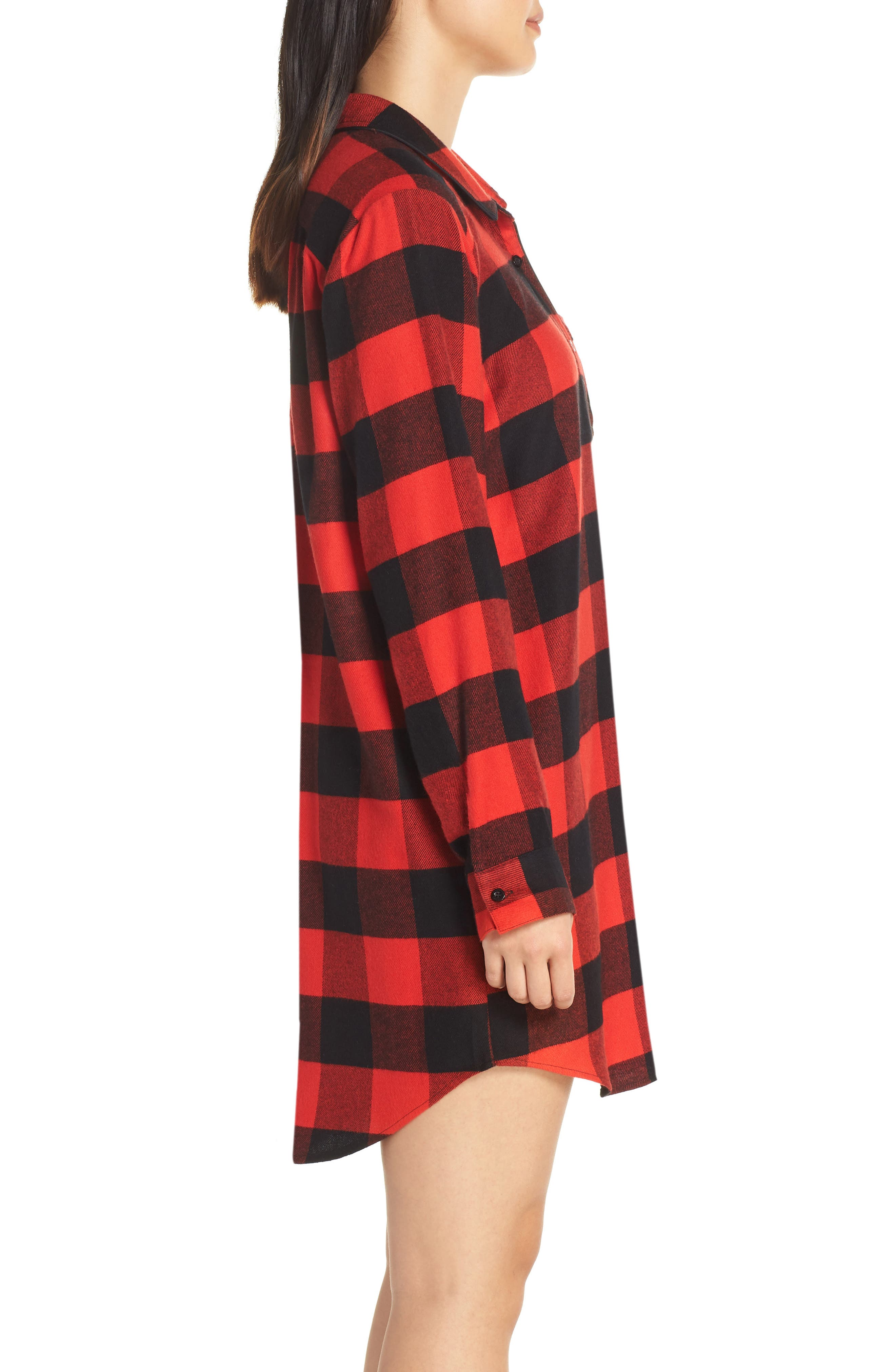 Flannel Nightshirt,                             Alternate thumbnail 3, color,                             RED BLOOM LARGE BUFFALO CHECK