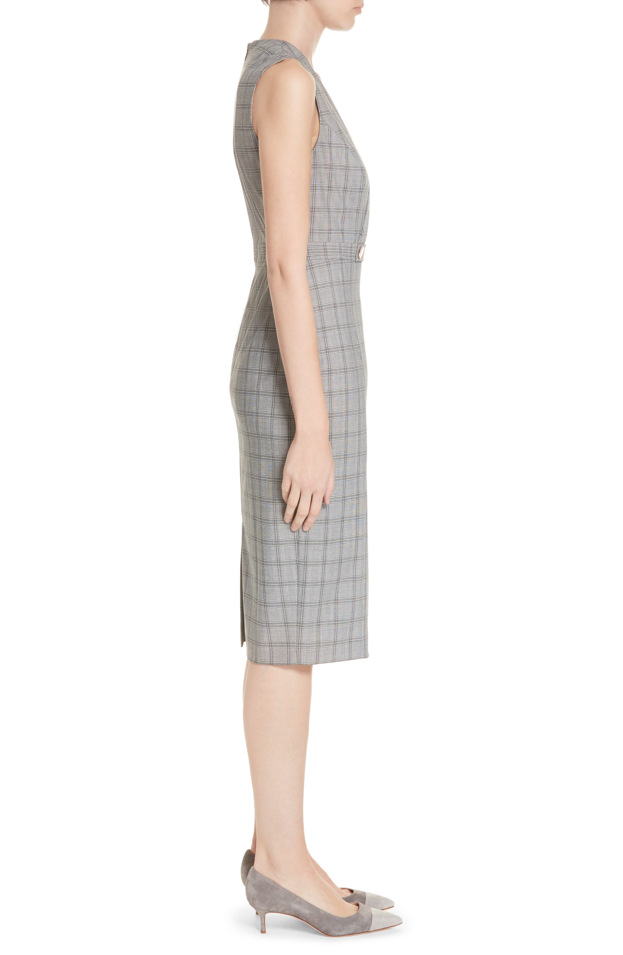 Ted Working Title Ristad Check Sheath Dress,                             Alternate thumbnail 3, color,                             GREY