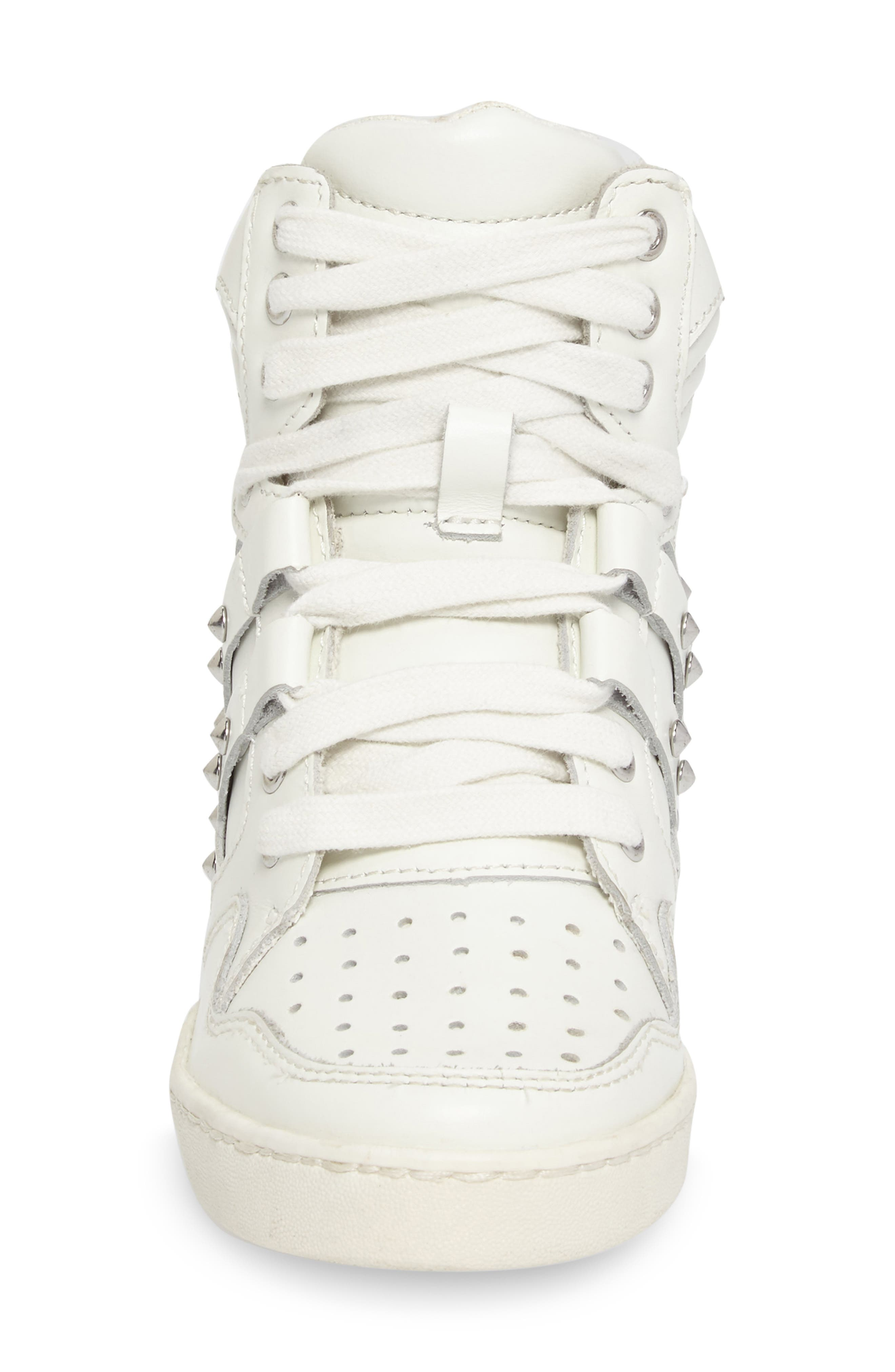 Boogie Studs High Top Sneaker,                             Alternate thumbnail 4, color,                             100