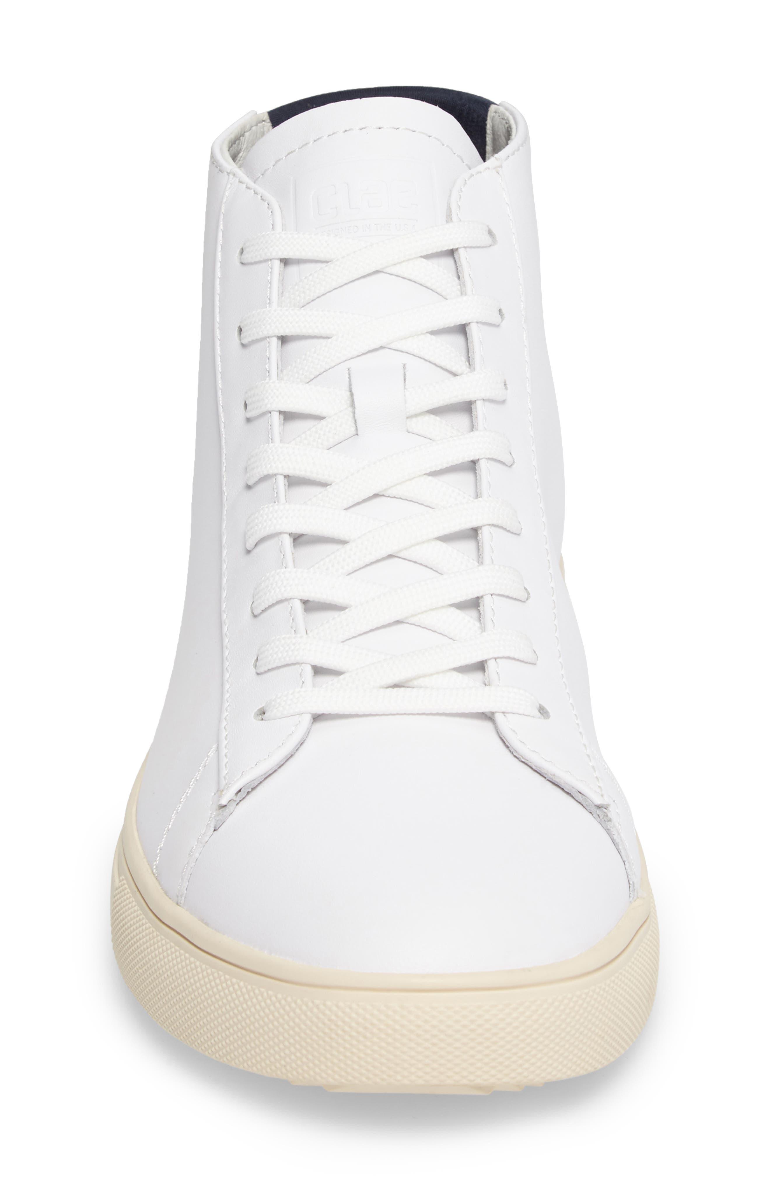'Bradley Mid' Sneaker,                             Alternate thumbnail 4, color,                             WHITE/WHITE LEATHER