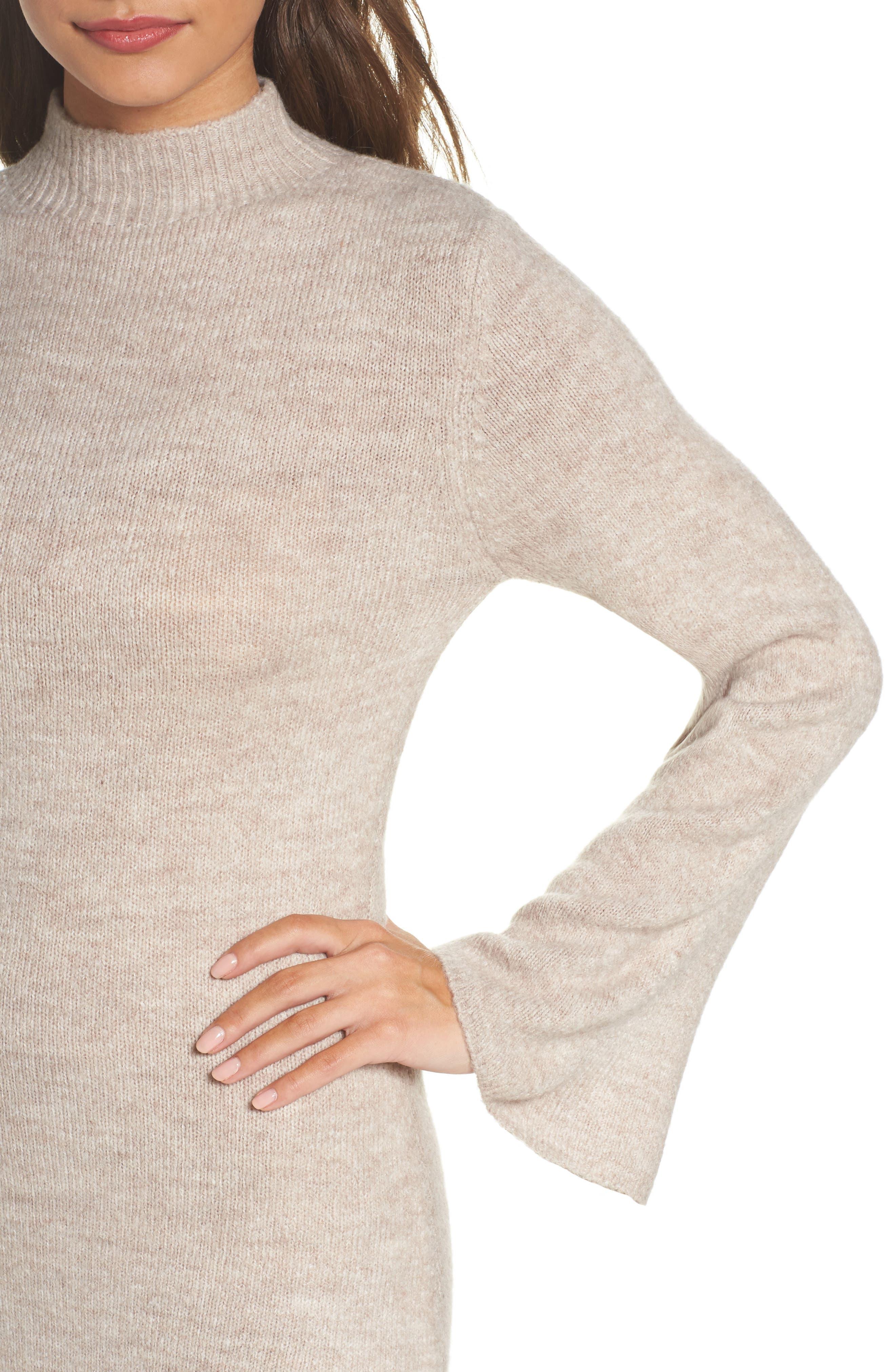 Bell Sleeve Knit Dress,                             Alternate thumbnail 8, color,