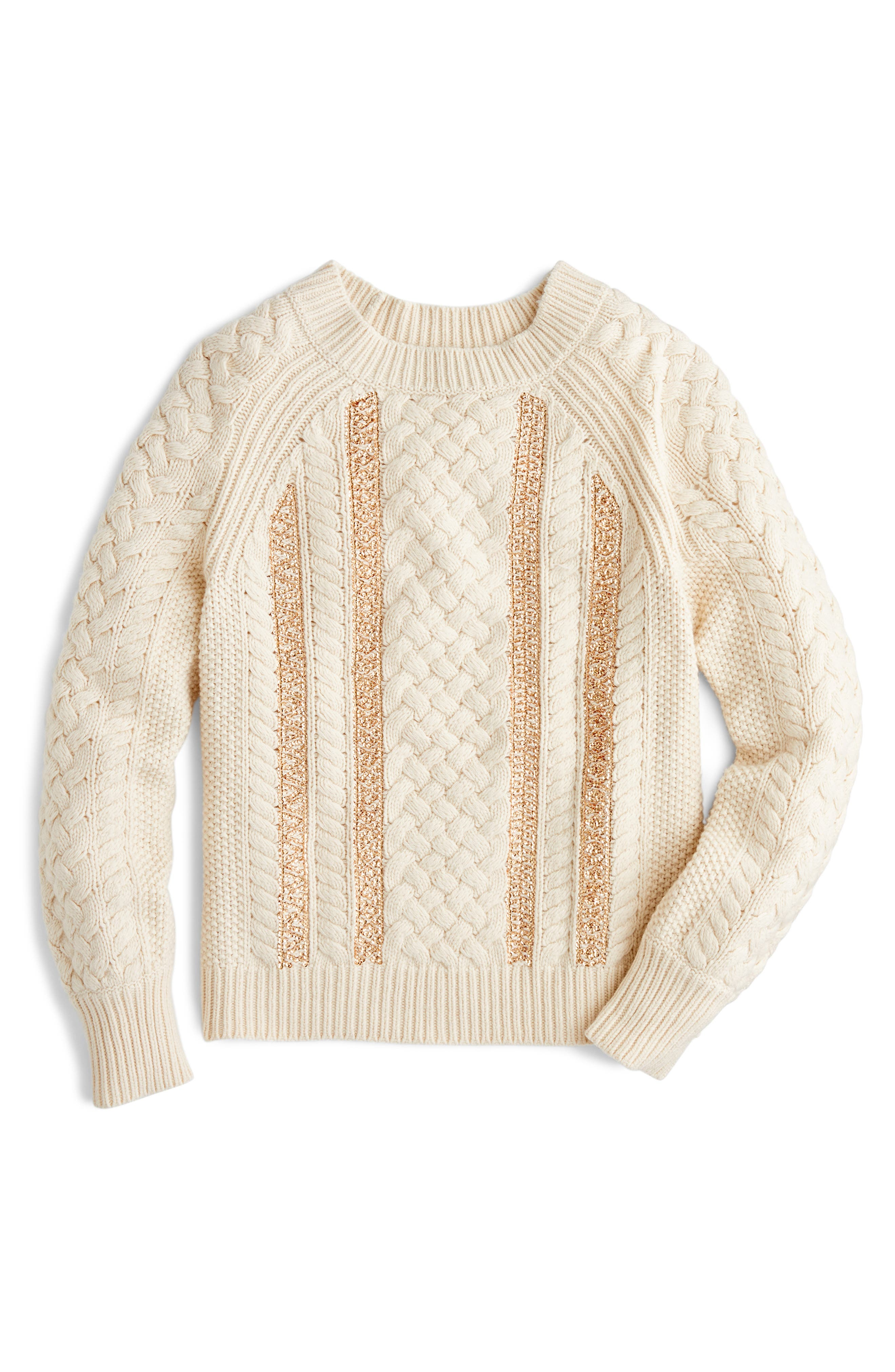 Cable Knit Sequin Sweater,                             Main thumbnail 1, color,                             900