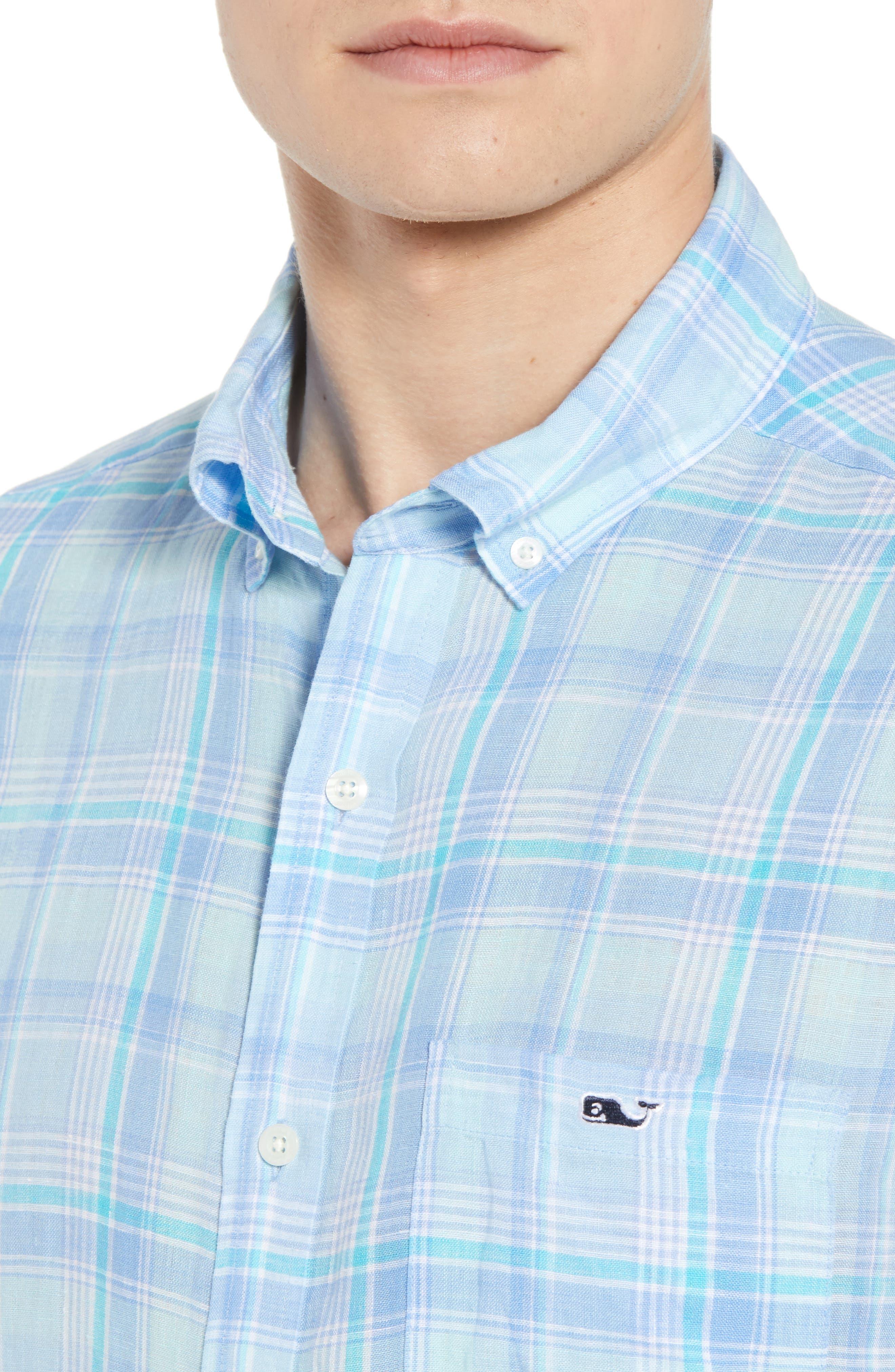 Moore's Island Classic Fit Plaid Sport Shirt,                             Alternate thumbnail 4, color,                             400