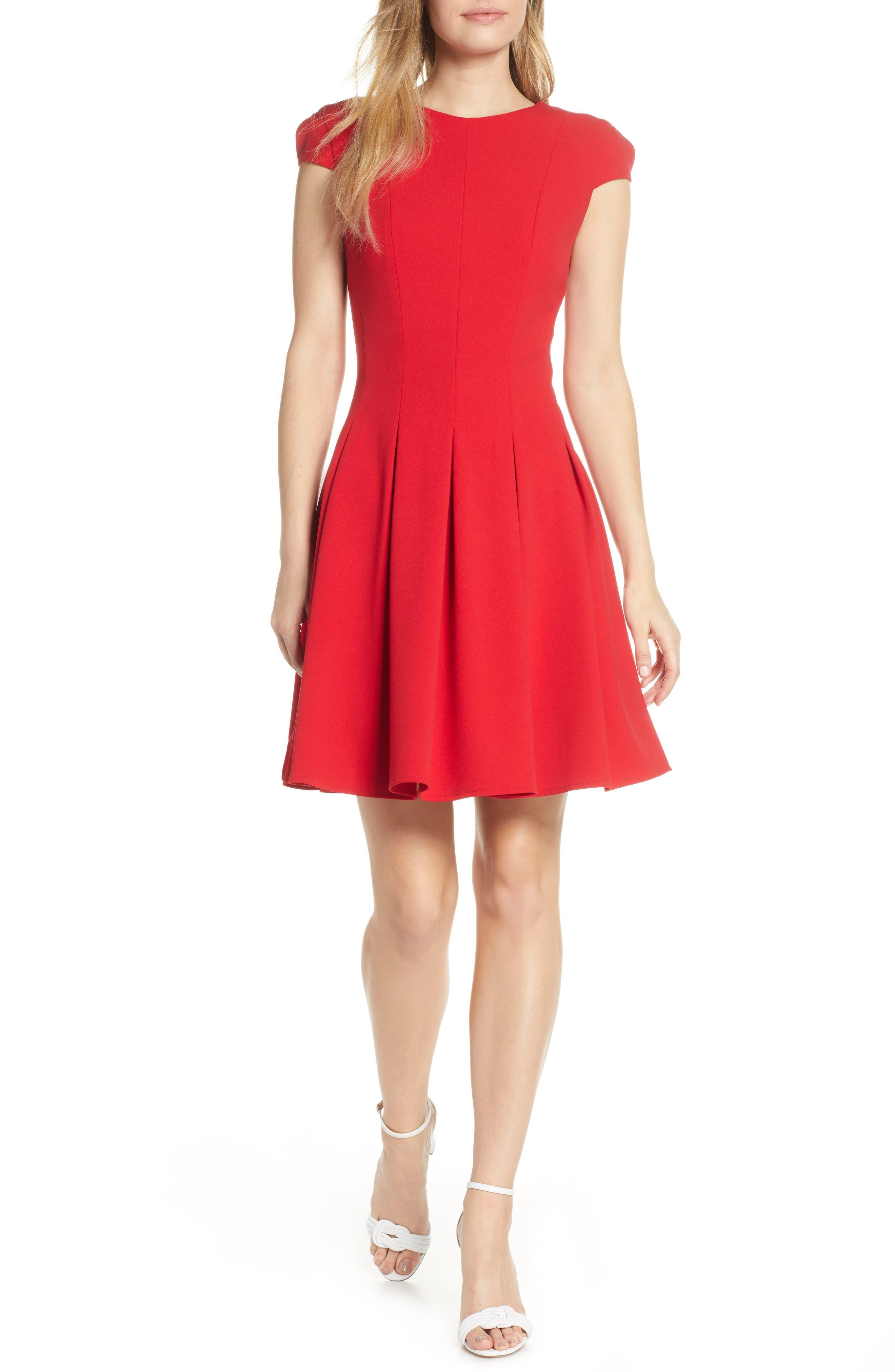 Julia Jordan Pleat Fit & Flare Dress, Red