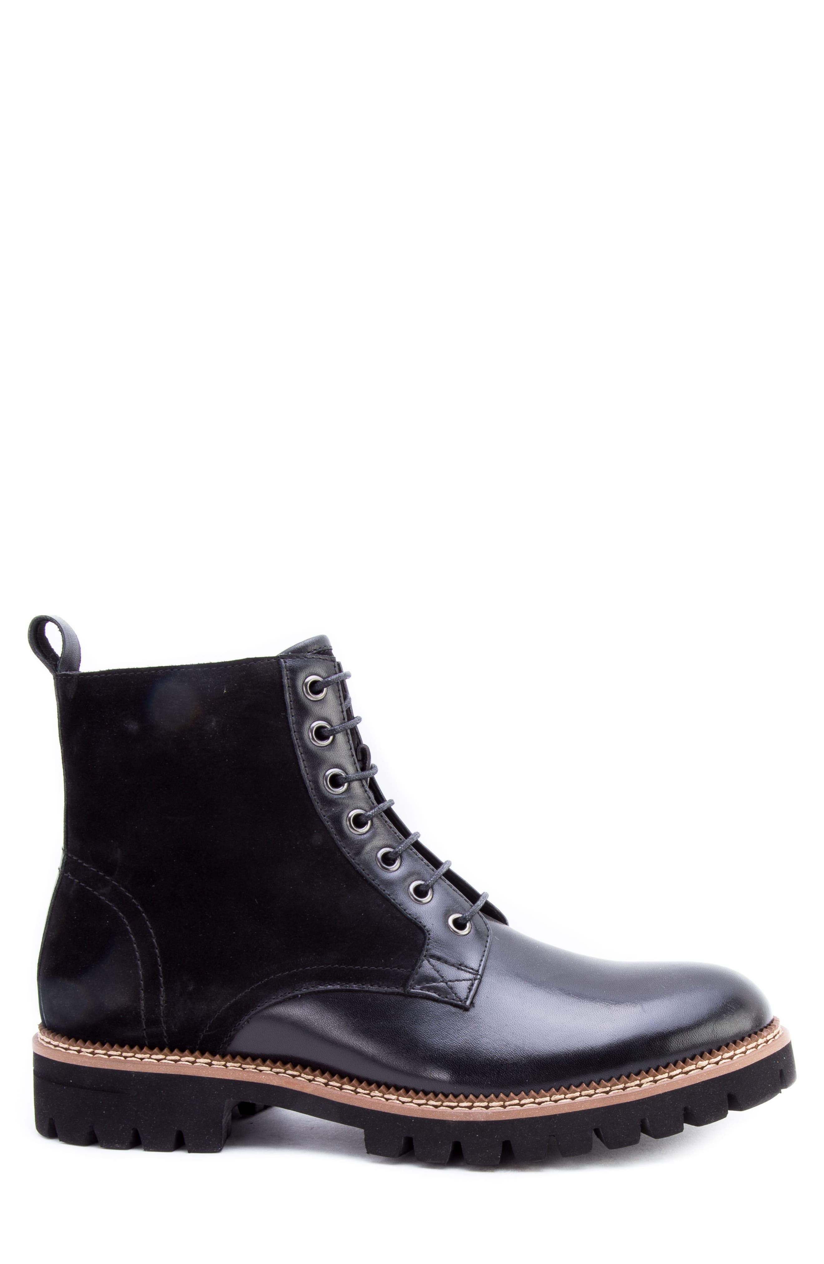 Millet Water Resistant Lugged Boot,                             Alternate thumbnail 3, color,                             BLACK LEATHER