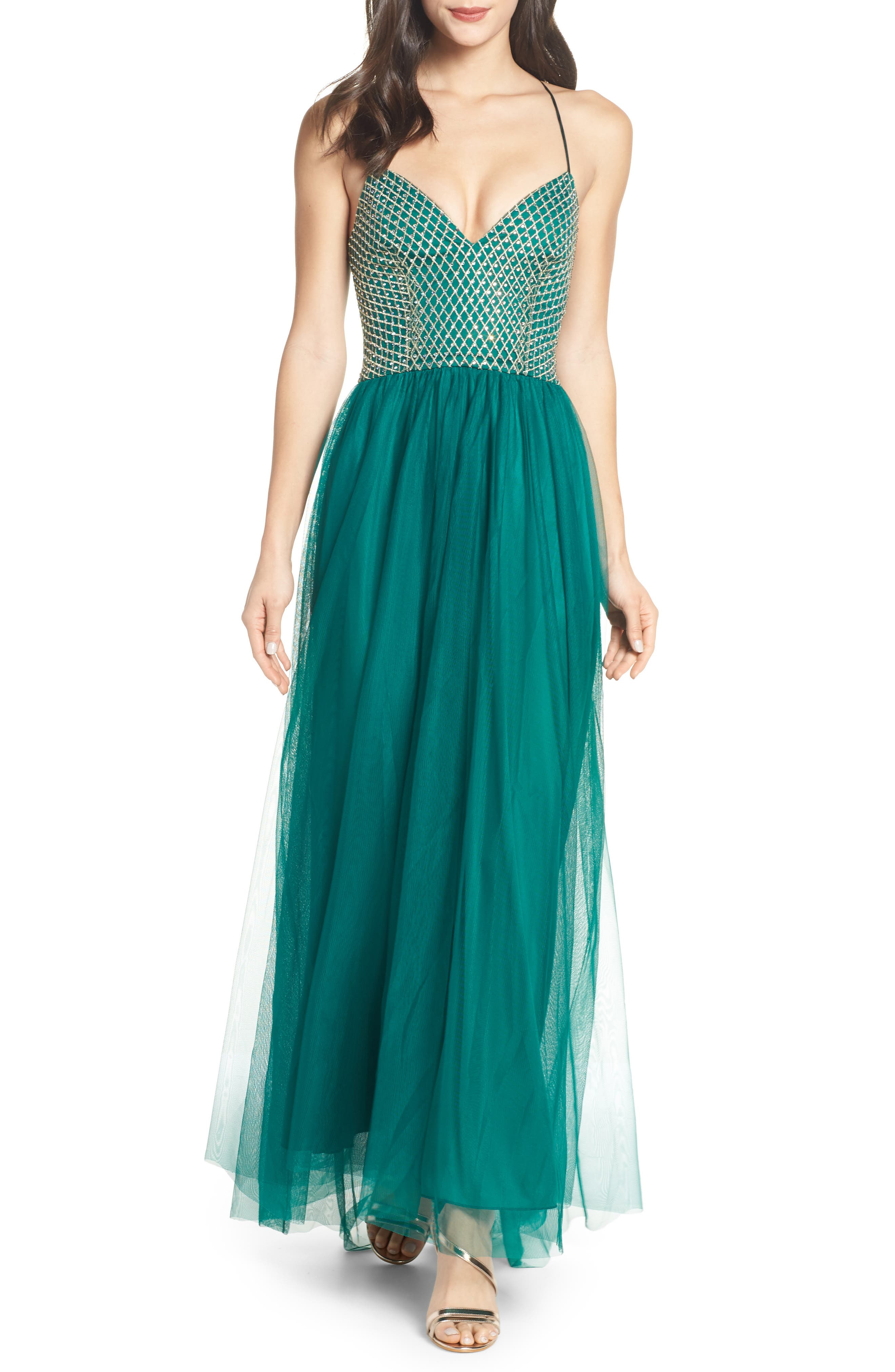 Embellished Bodice Gown, Main, color, EVERGREEN
