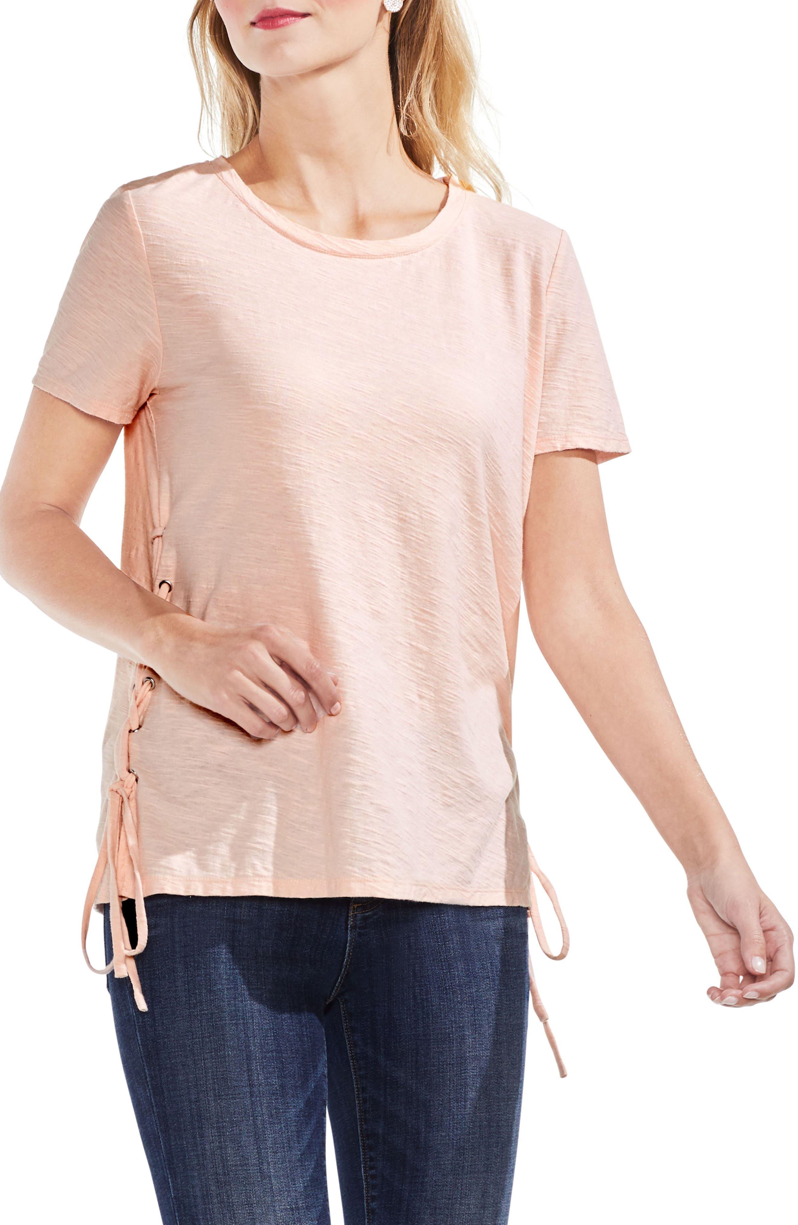 Side Lace-Up Cotton Slub Top,                             Main thumbnail 9, color,