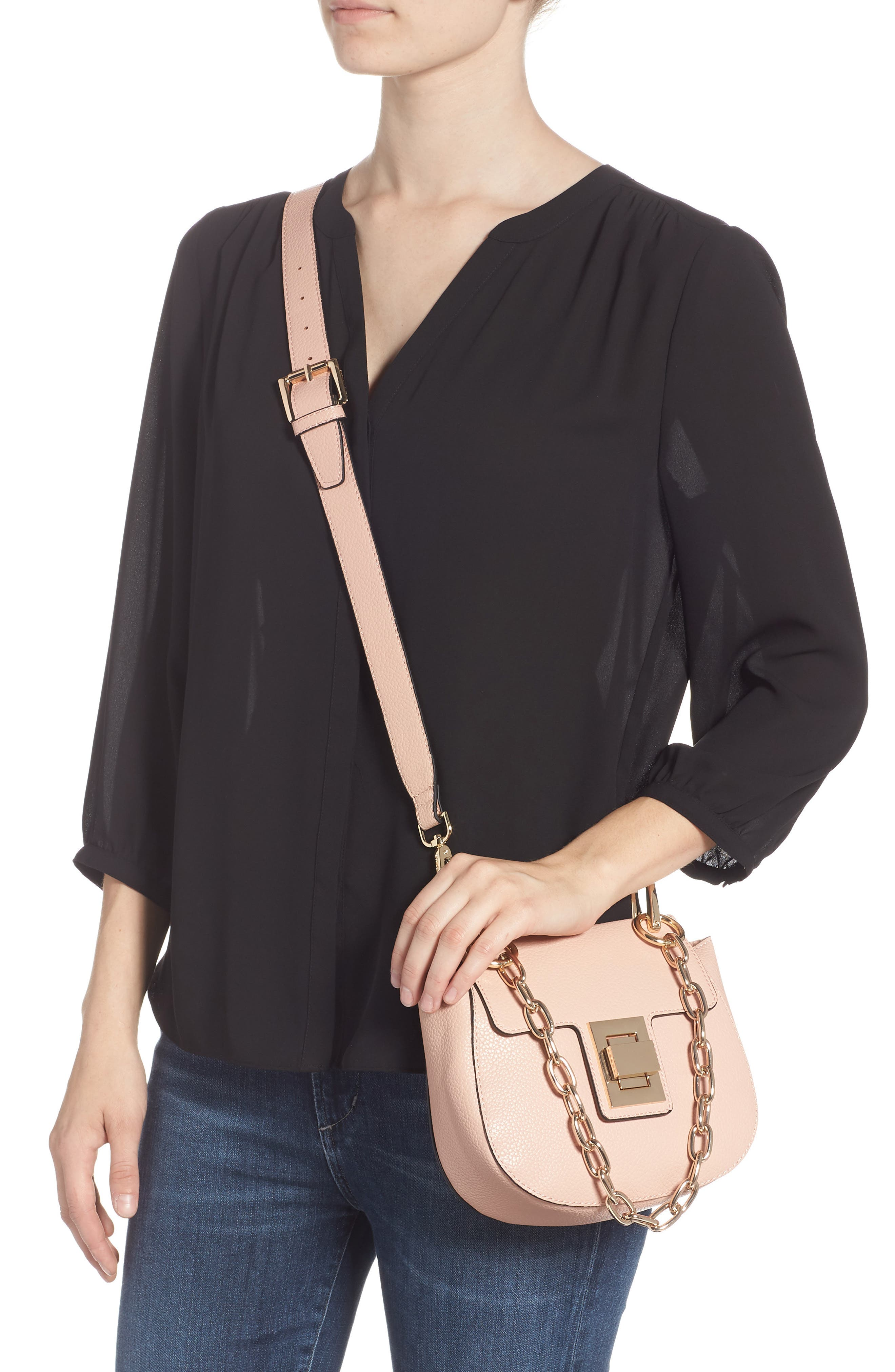 Draped Chain Faux Leather Crossbody Bag,                             Alternate thumbnail 3, color,                             BLUSH