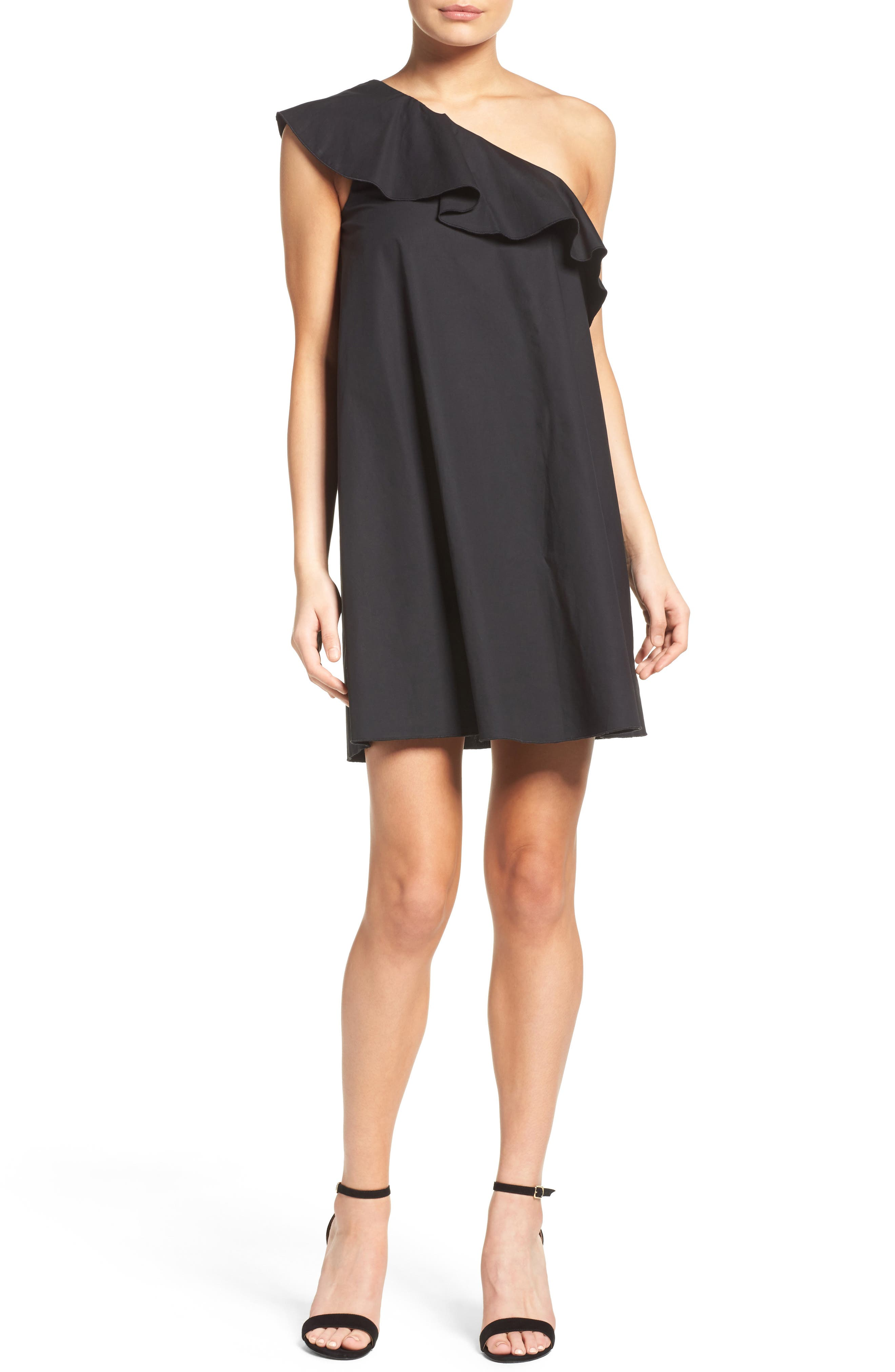 One-Shoulder Ruffle Dress,                             Alternate thumbnail 5, color,                             001
