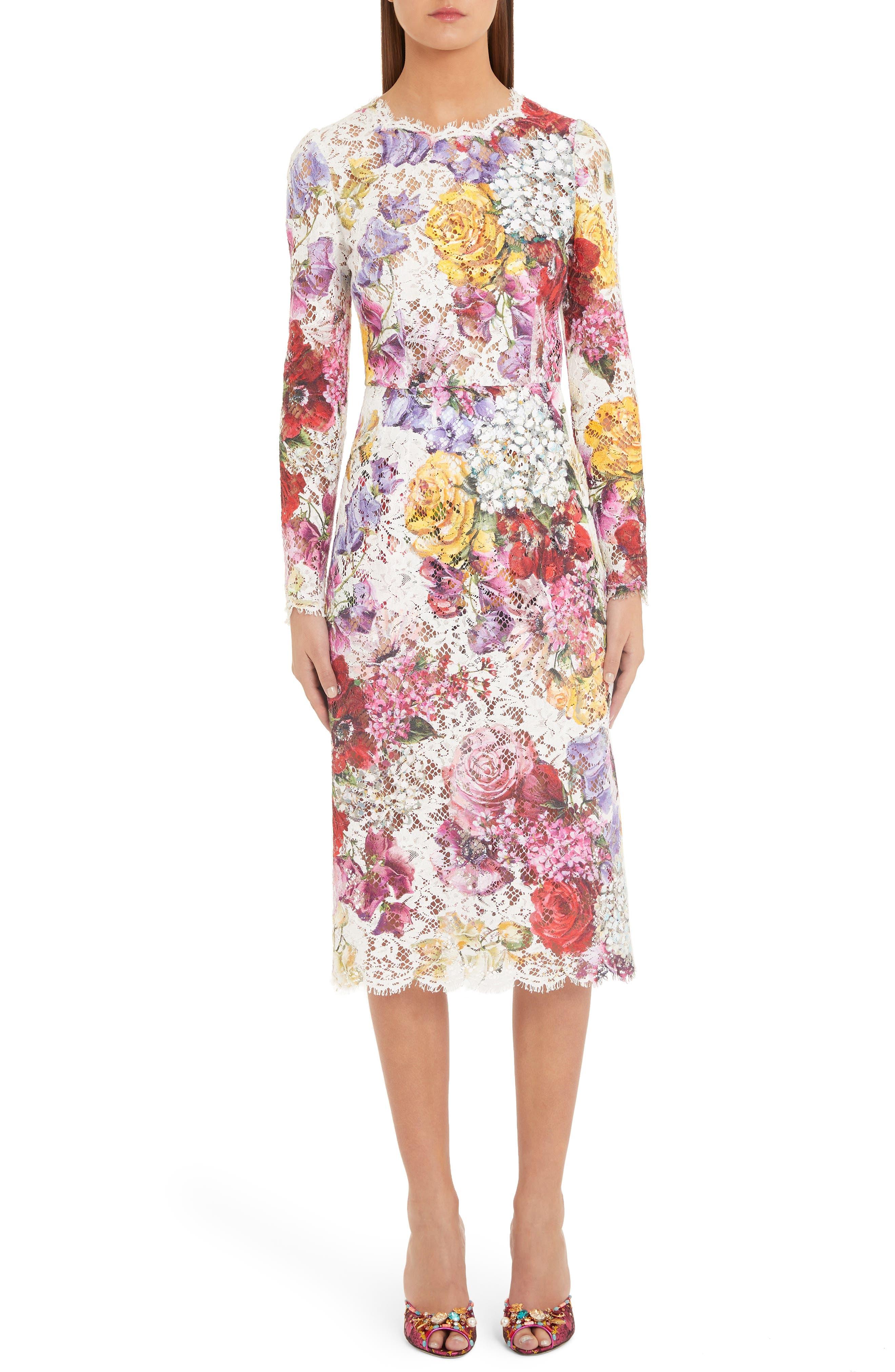 Dolce & gabbana Floral Print Lace Pencil Dress, 8 IT - White