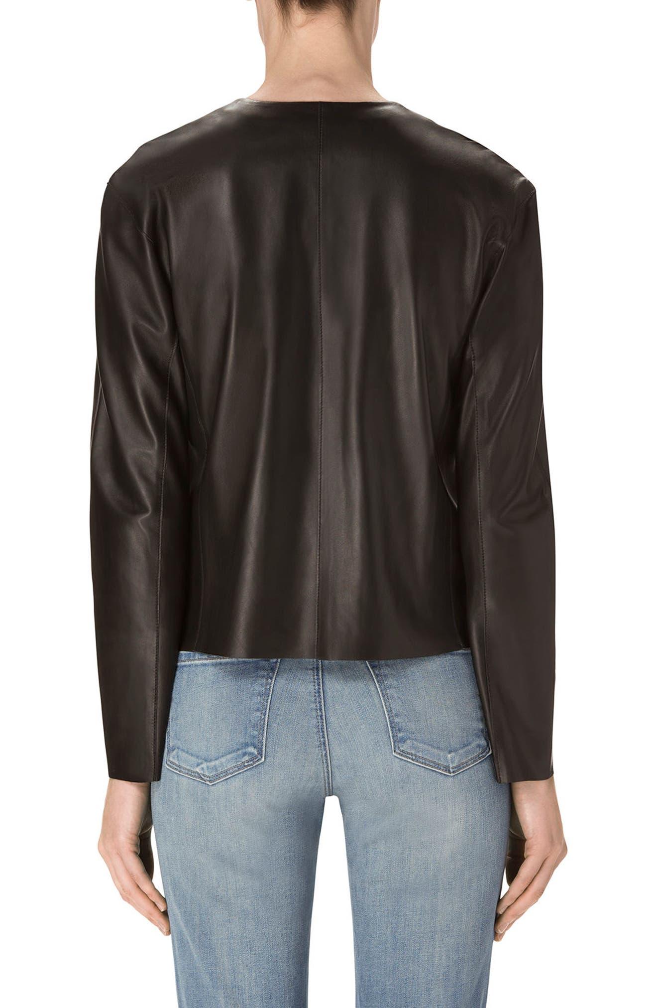 Cecelia Collarless Leather Jacket,                             Alternate thumbnail 2, color,                             001