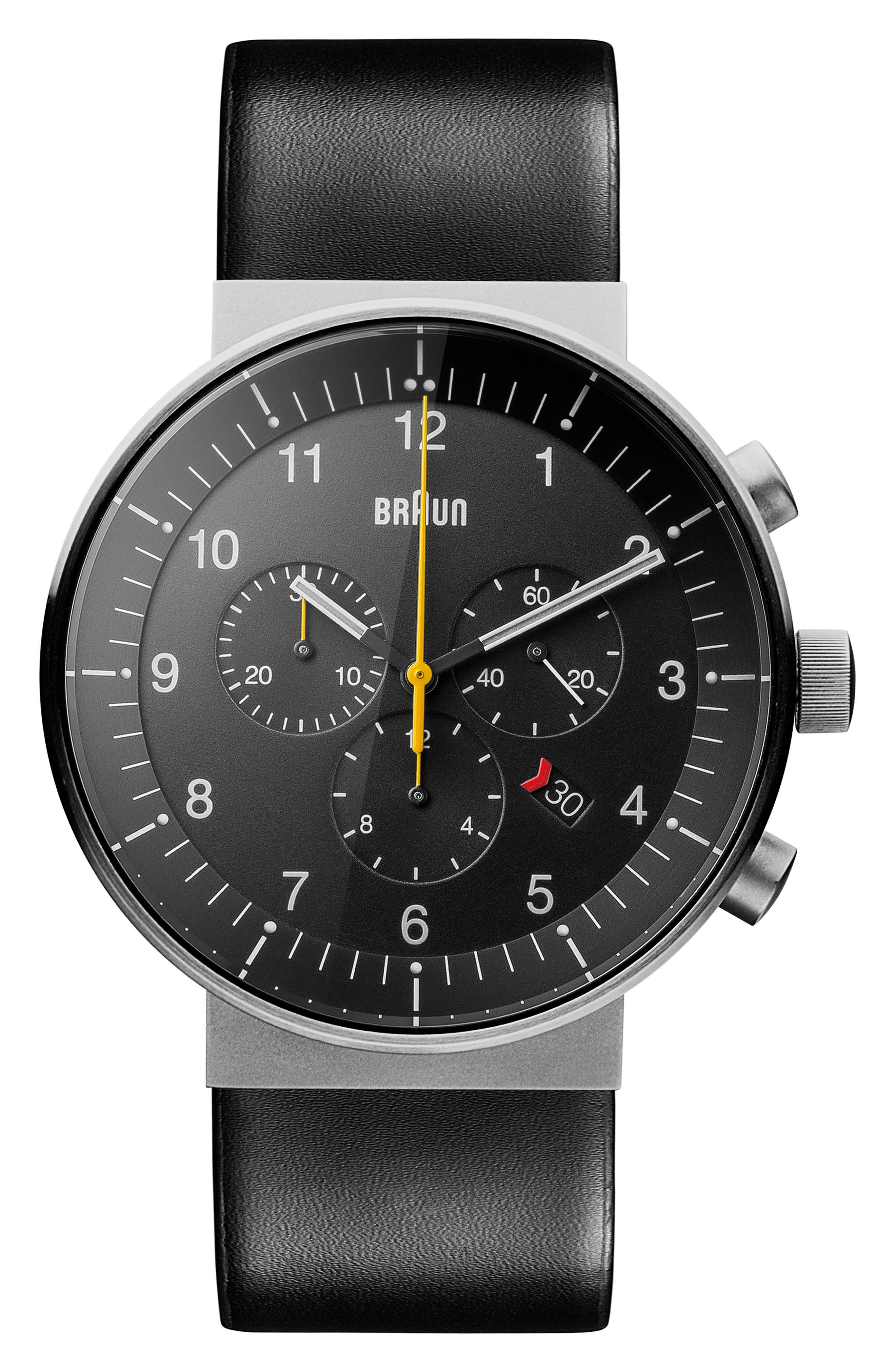 BRAUN Prestige Chronograph Leather Strap Watch, 43Mm in Black/ Silver
