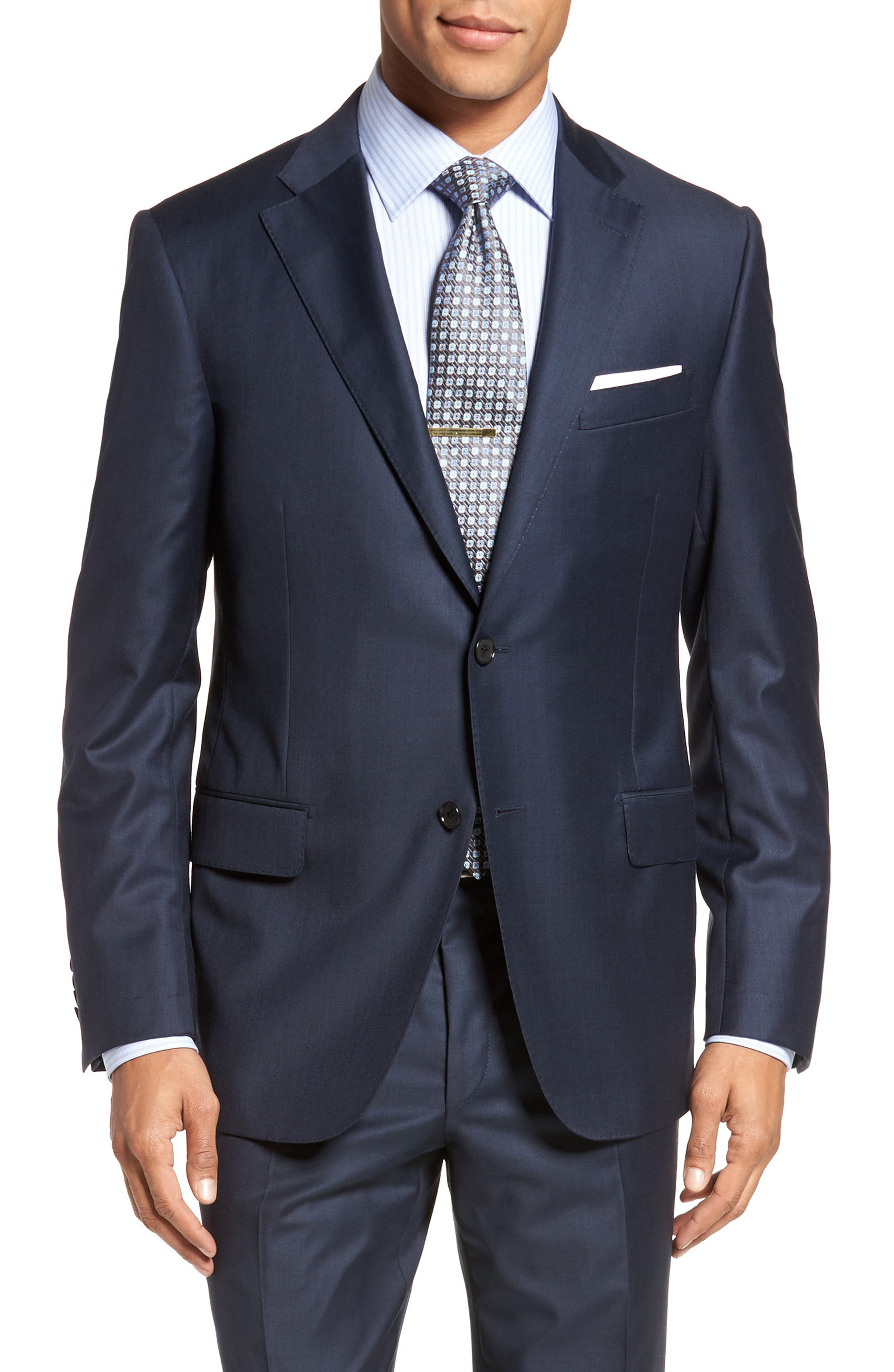 Modern H Fit Solid Loro Piana Wool Suit,                             Alternate thumbnail 5, color,                             NAVY SHARKSKIN