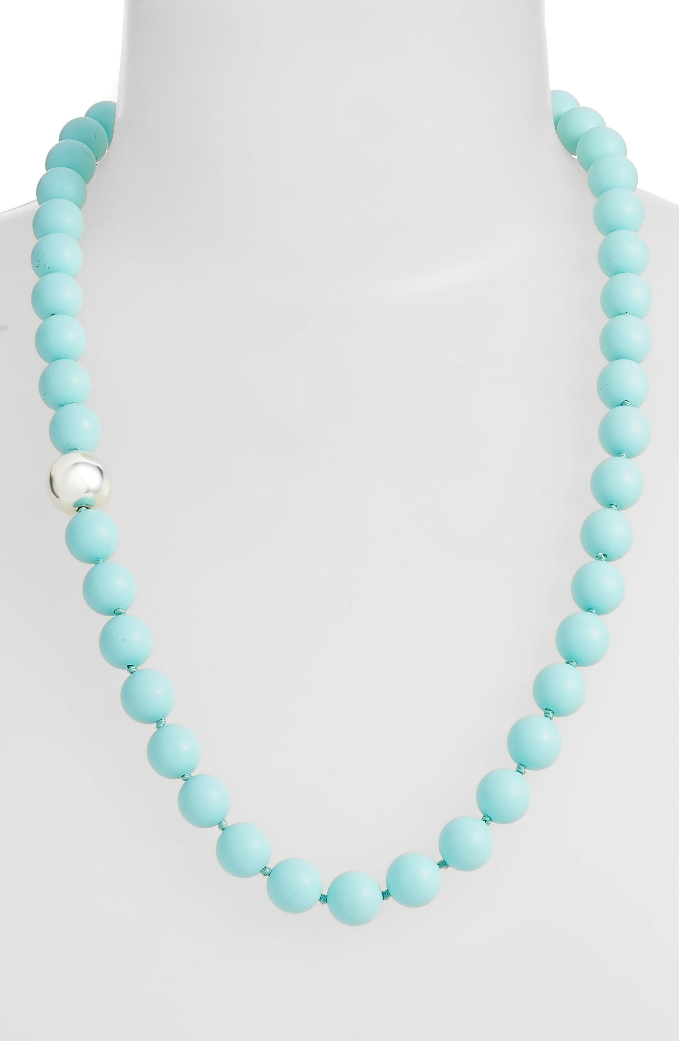 Silver Accent Beaded Necklace,                             Alternate thumbnail 5, color,