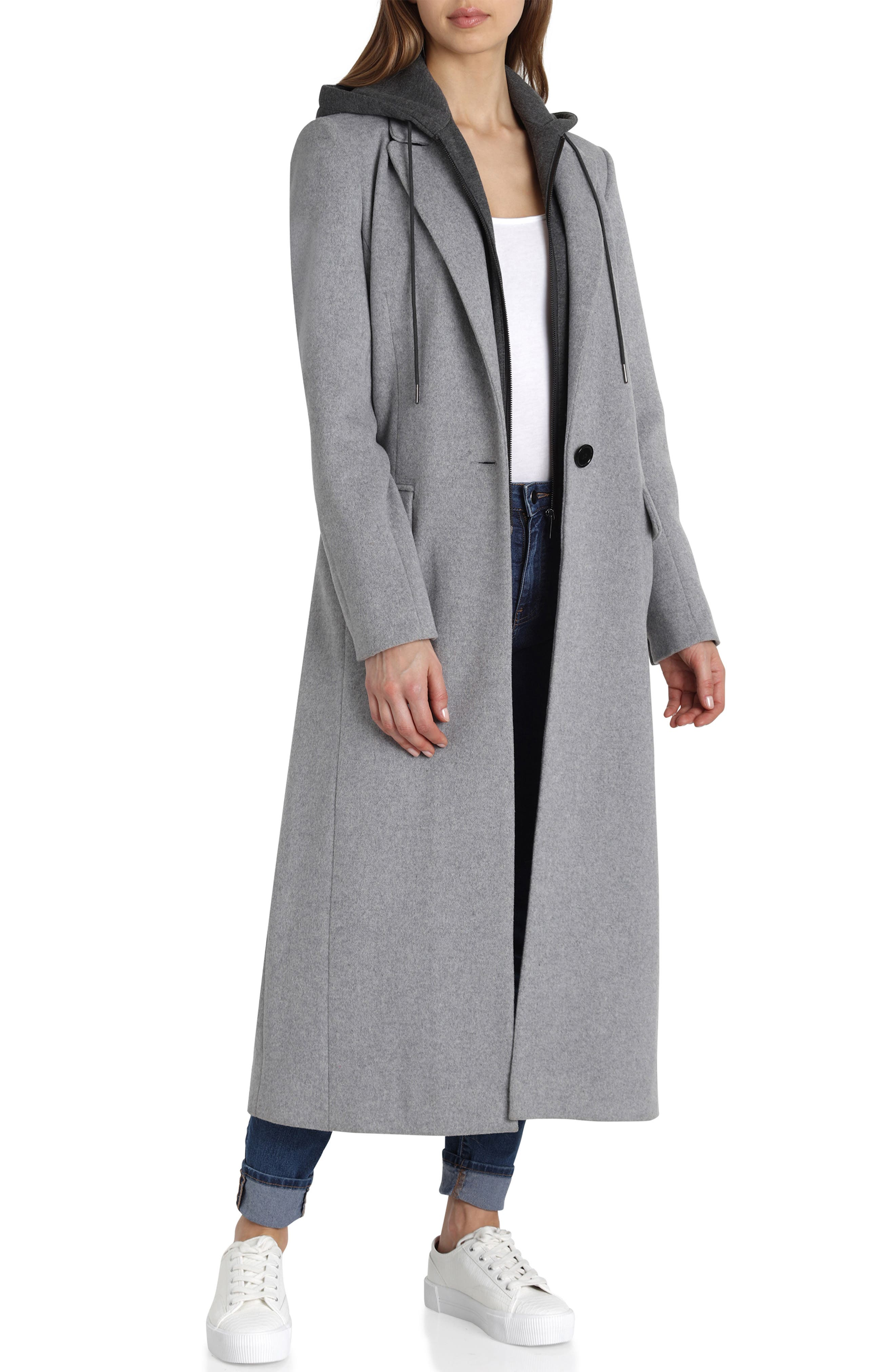 Wool Blend Coat,                         Main,                         color, GREY