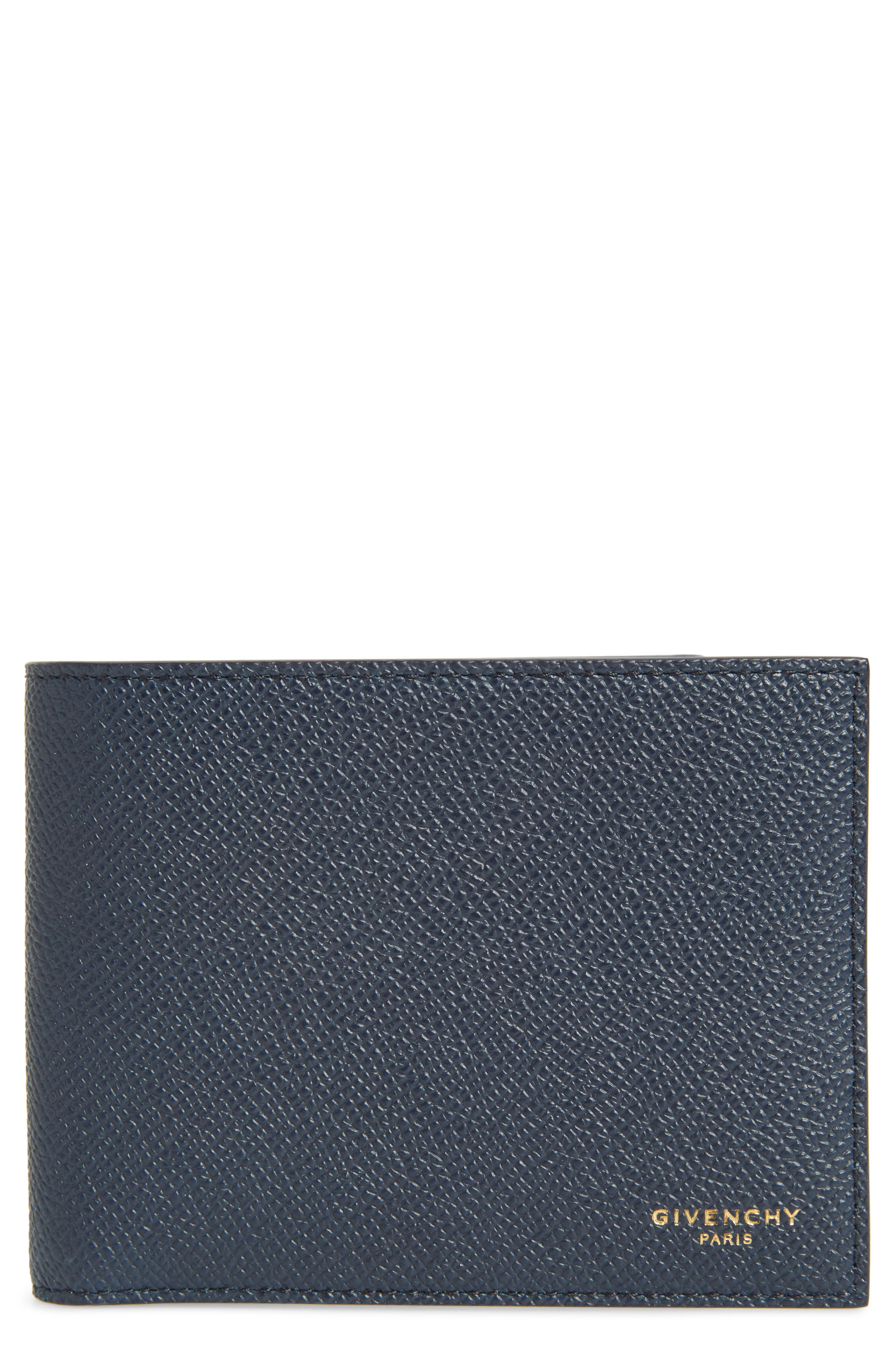 Eros Textured Leather Wallet,                             Main thumbnail 1, color,                             NAVY