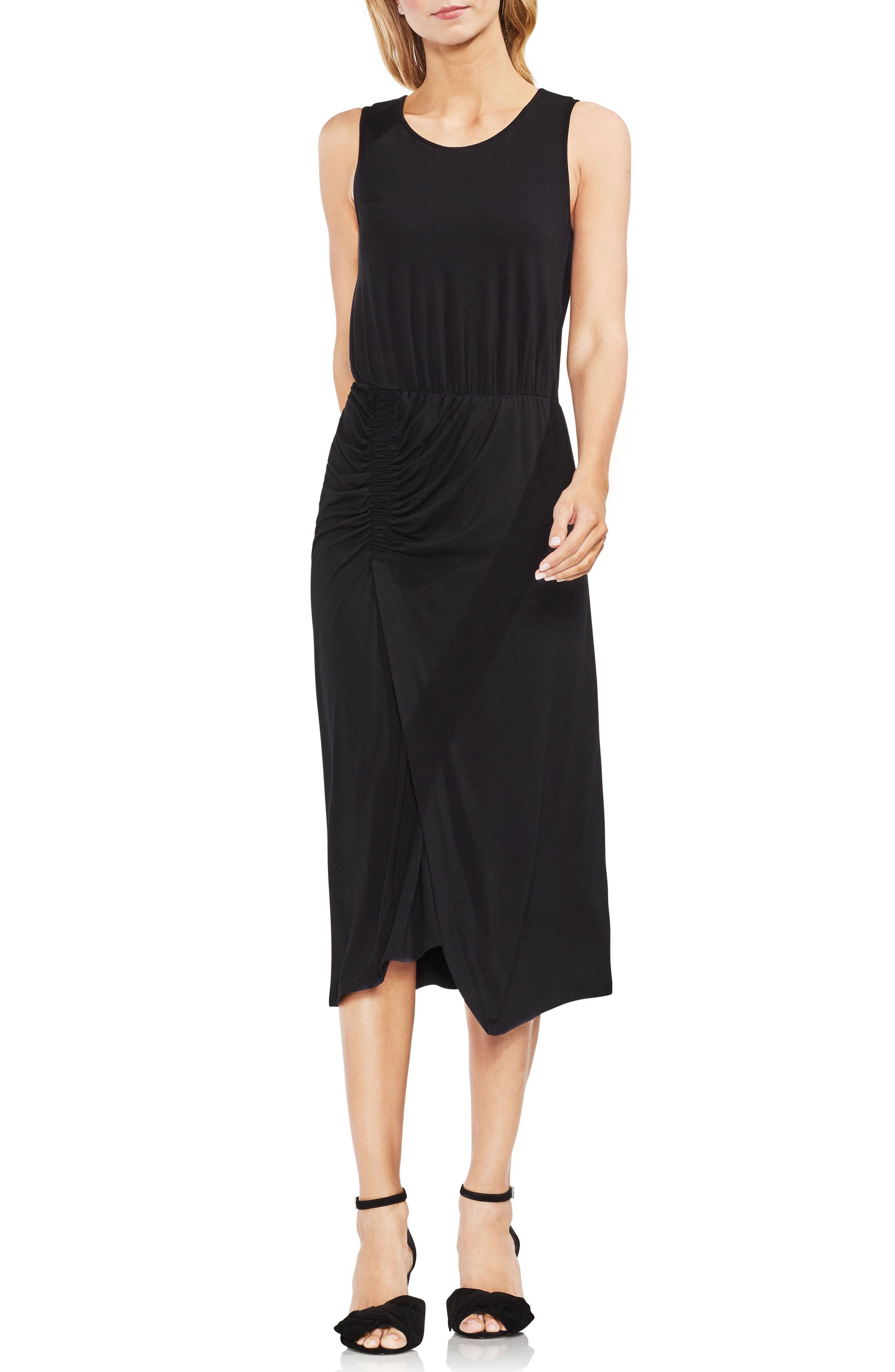 Ruched Midi Dress,                         Main,                         color, 001