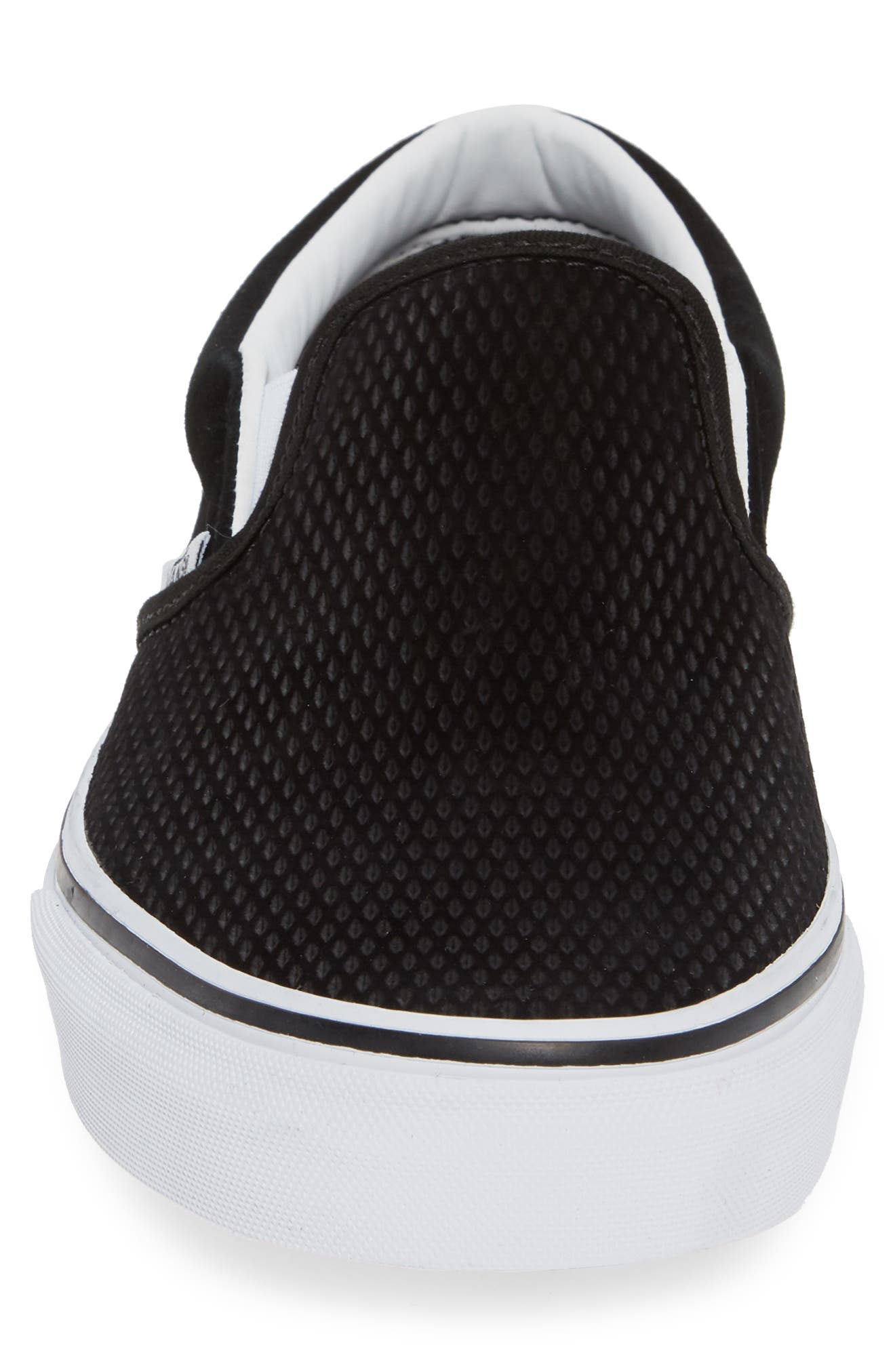 Classic Embossed Suede Slip-On,                             Alternate thumbnail 4, color,                             BLACK/ TRUE WHITE SUEDE