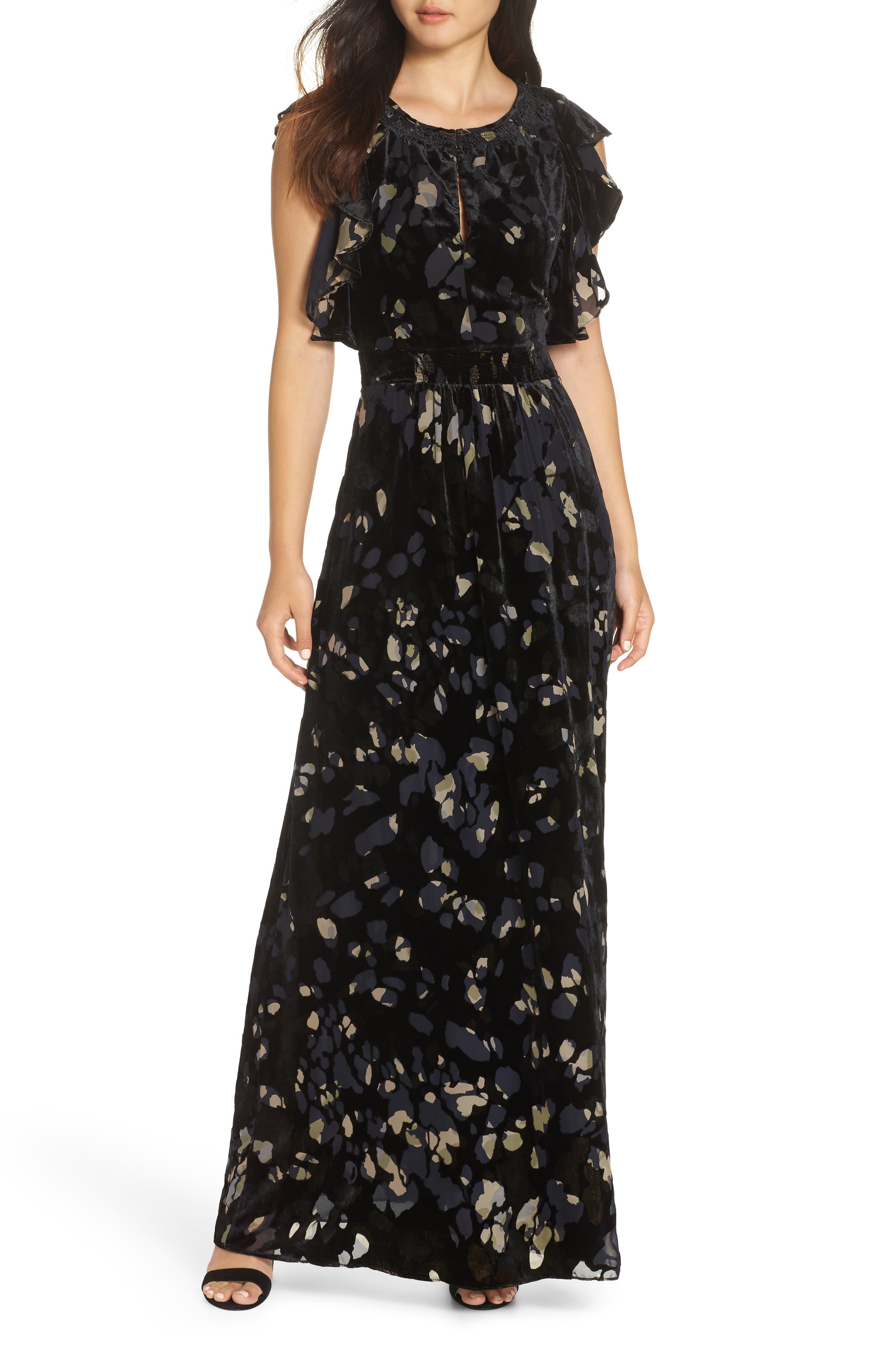 Velvet Maxi Dress,                             Main thumbnail 1, color,                             001