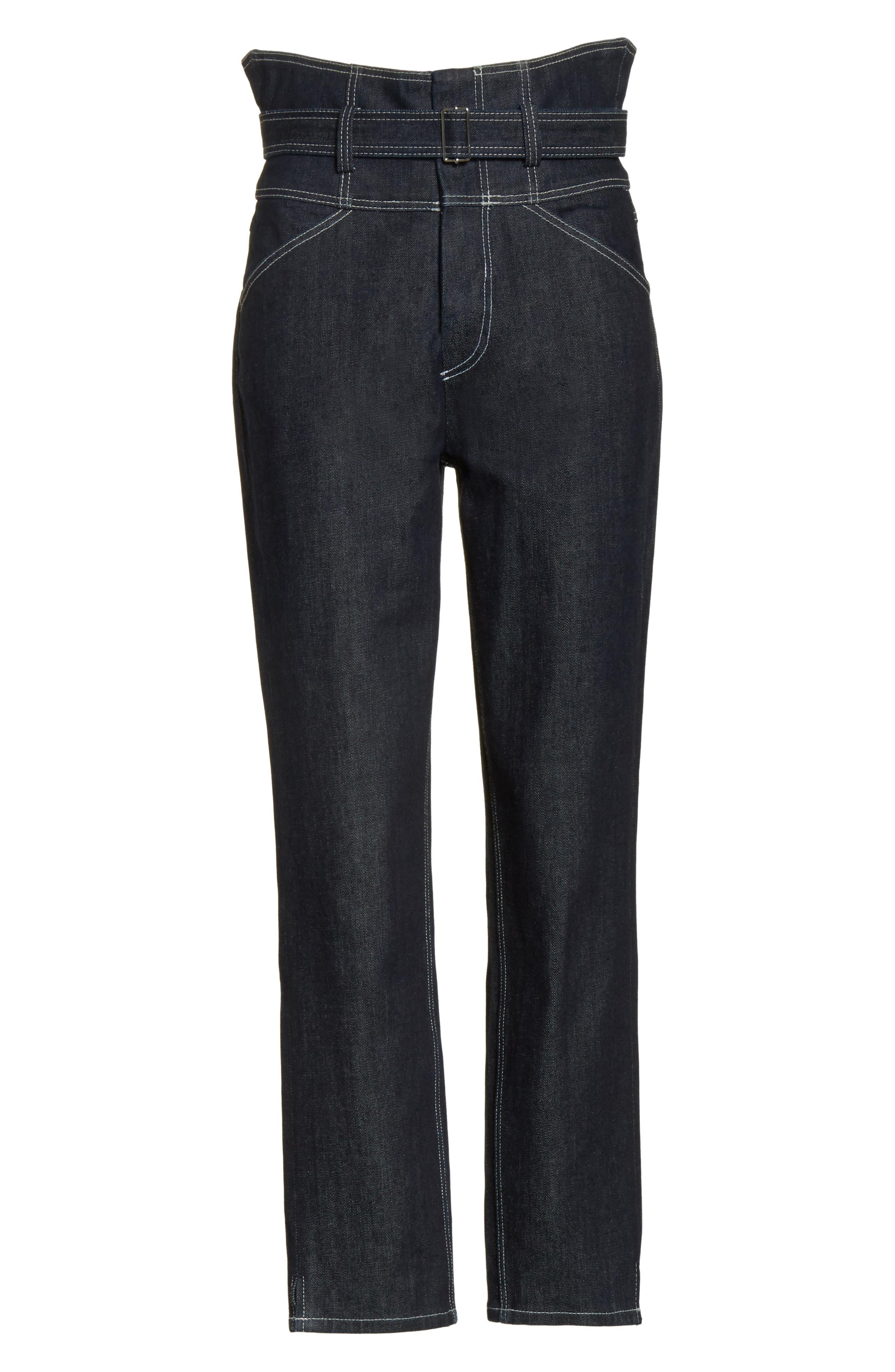 Belted Crop Jeans,                             Alternate thumbnail 6, color,