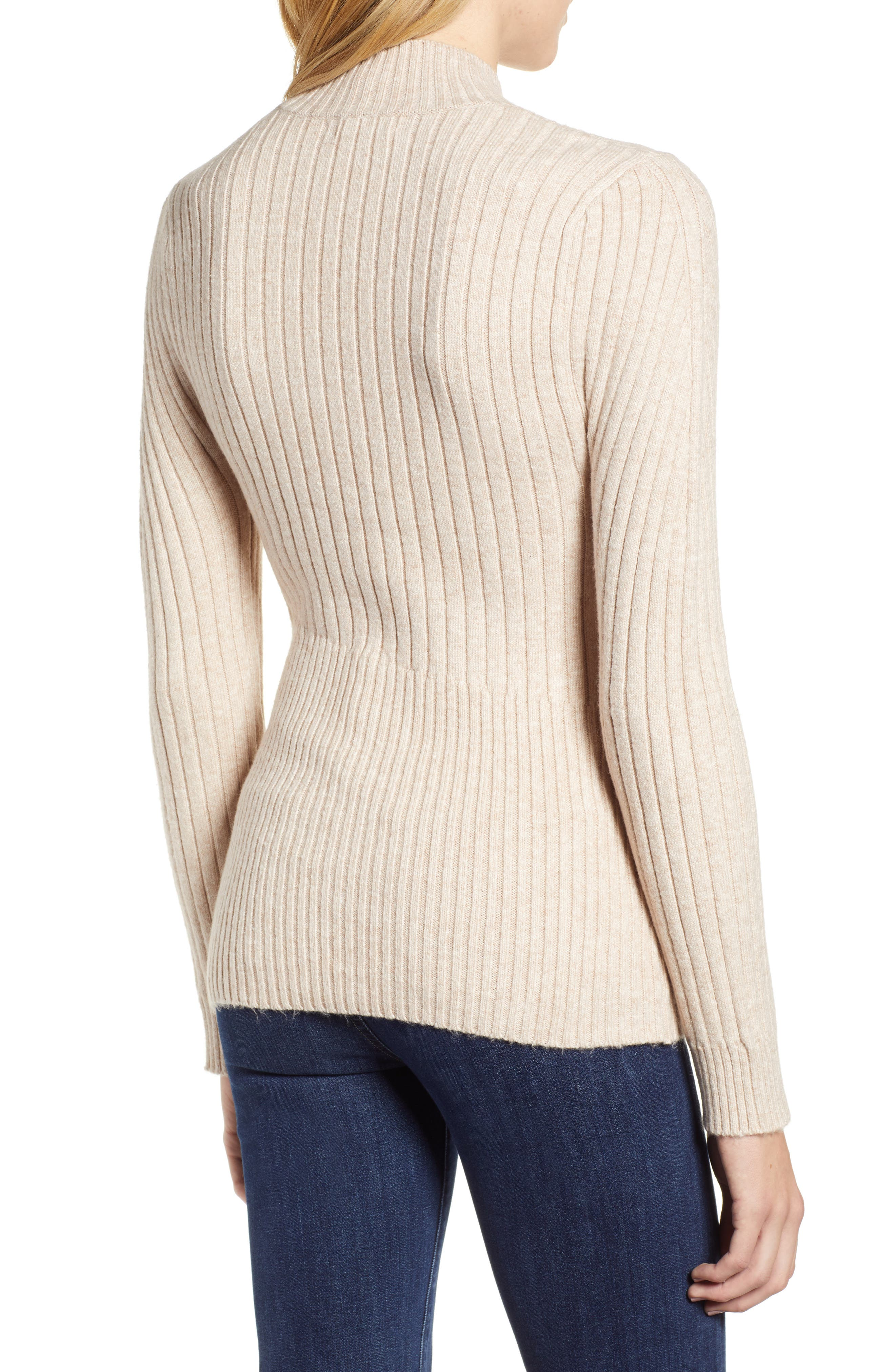 Mixed Rib Sweater,                             Alternate thumbnail 2, color,                             WARM OATMEAL HEATHER