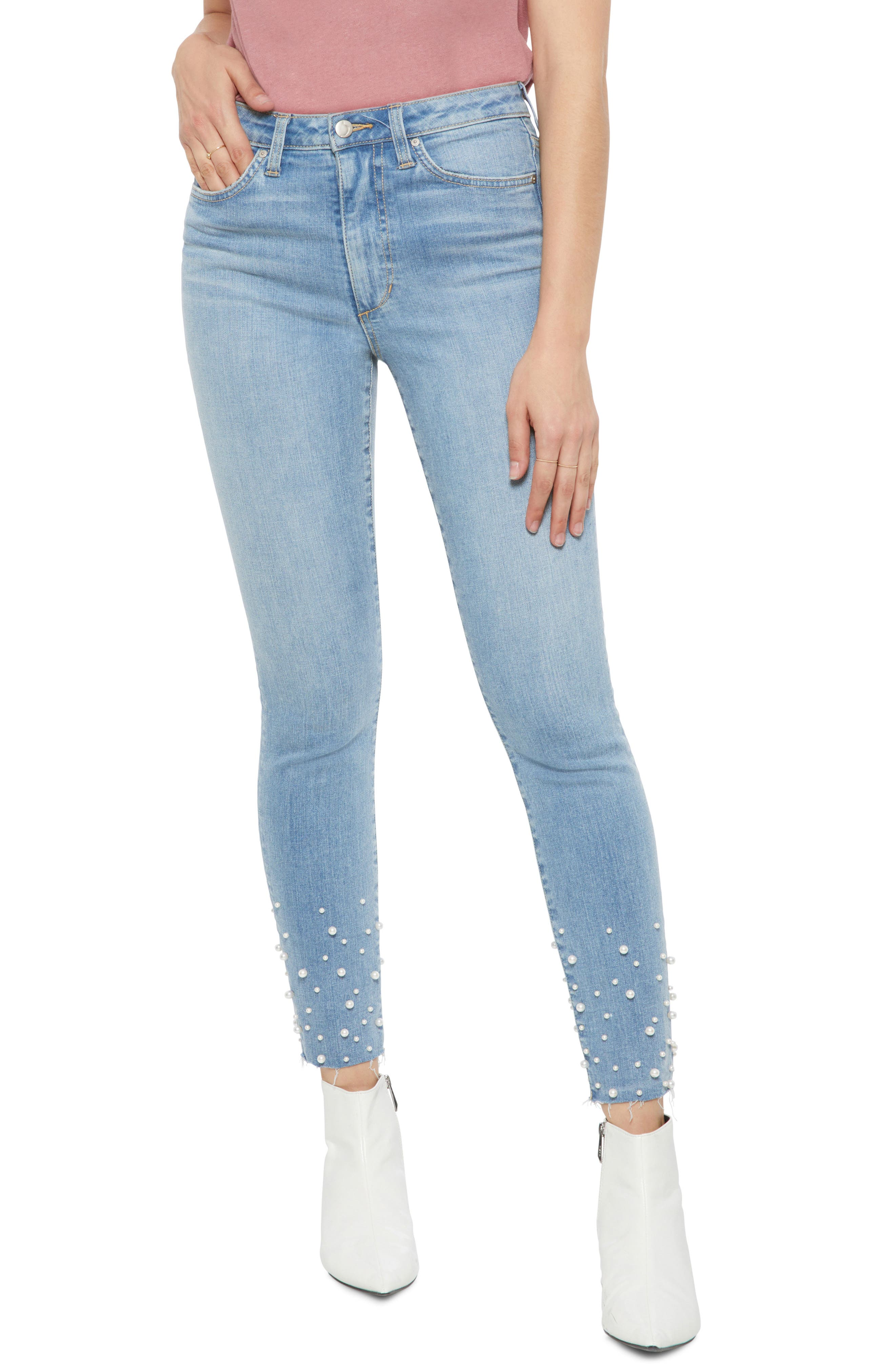 Flawless - Charlie Pearl Hem Ankle Skinny Jeans,                             Main thumbnail 1, color,                             SISELY
