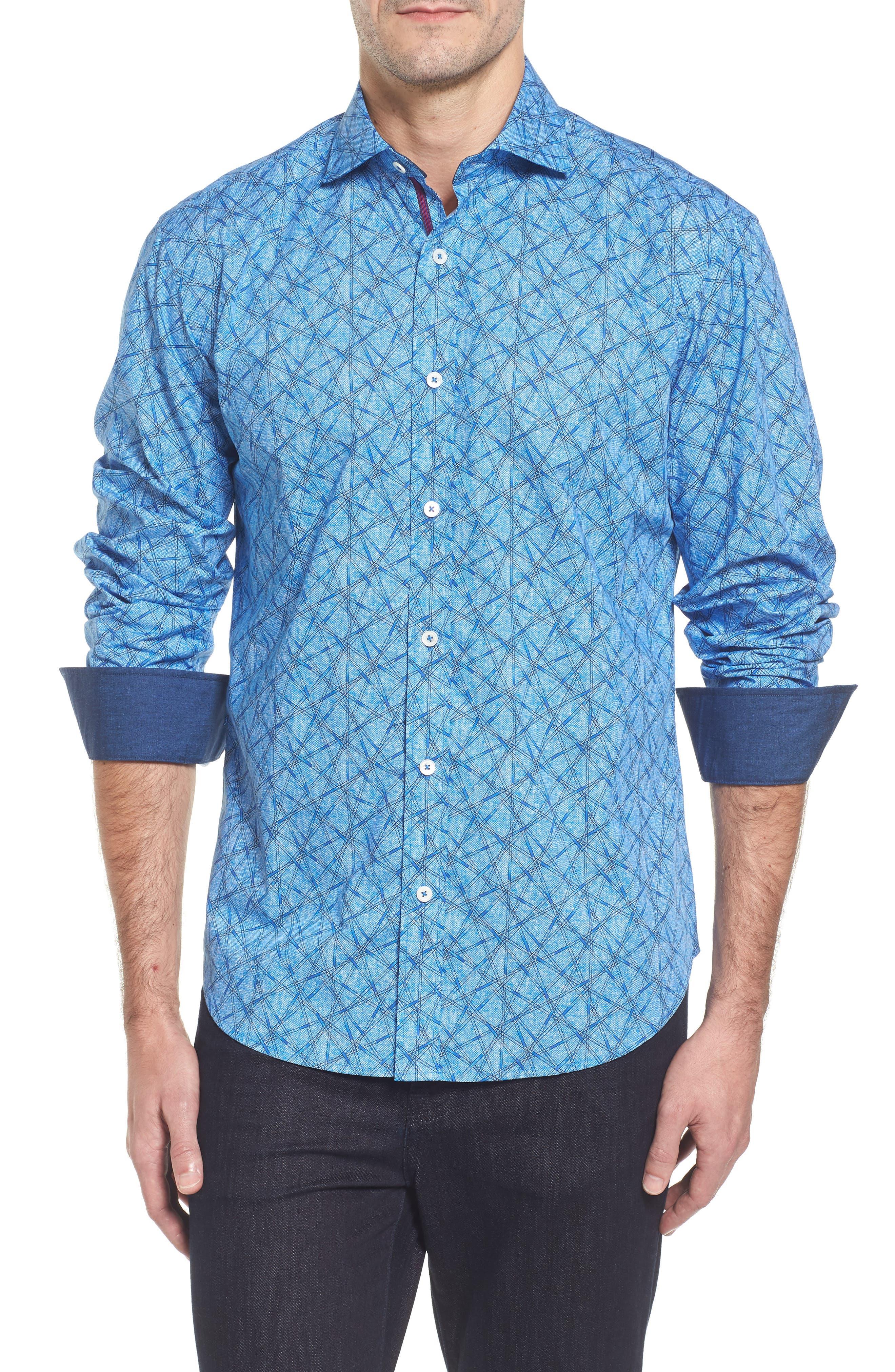Slim Fit Abstract Print Sport Shirt,                             Main thumbnail 1, color,                             422