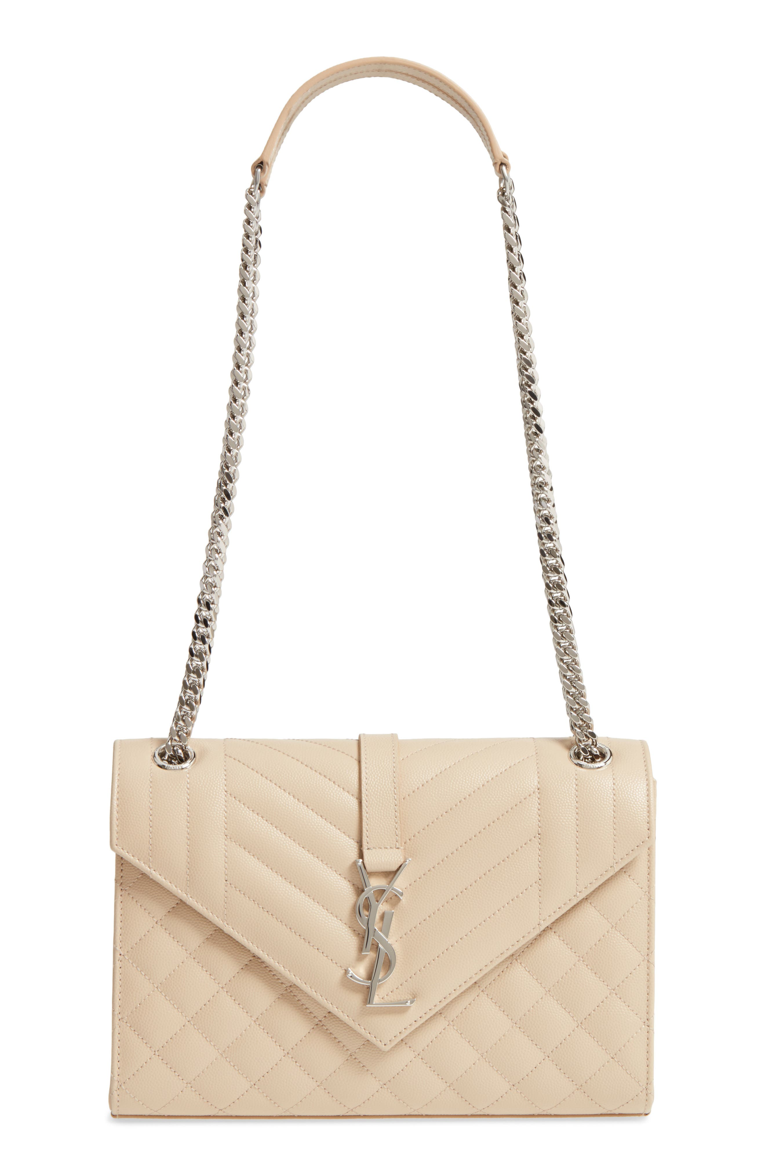 Medium Cassandra Calfskin Shoulder Bag,                         Main,                         color, POUDRE