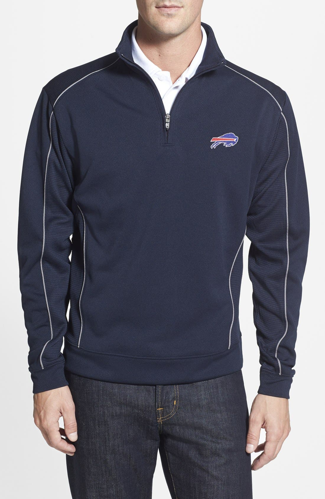 Buffalo Bills - Edge DryTec Moisture Wicking Half Zip Pullover,                             Main thumbnail 1, color,                             420