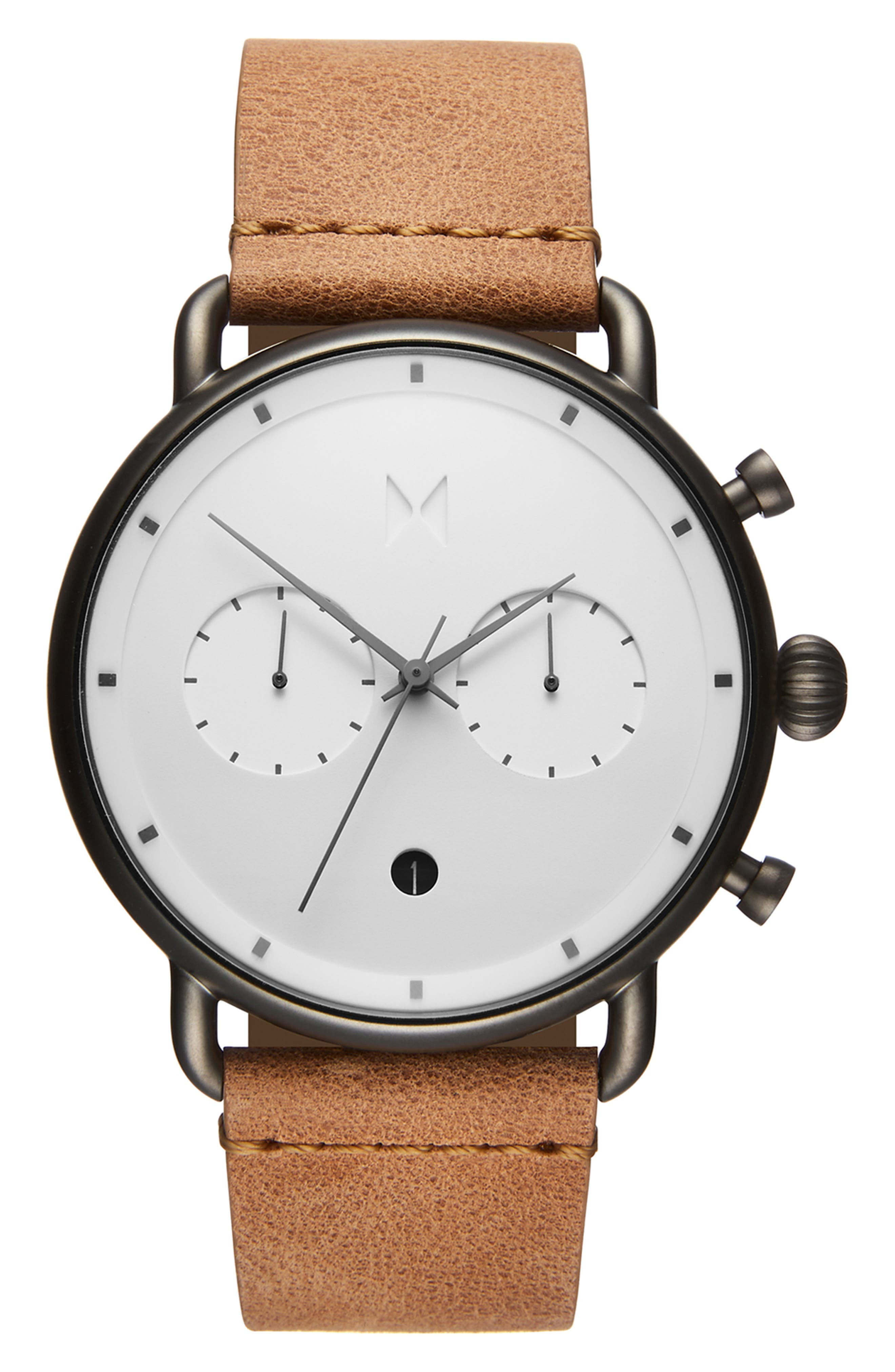 Blacktop Chronograph Leather Strap Watch,                         Main,                         color, WHITE/ CARAMEL