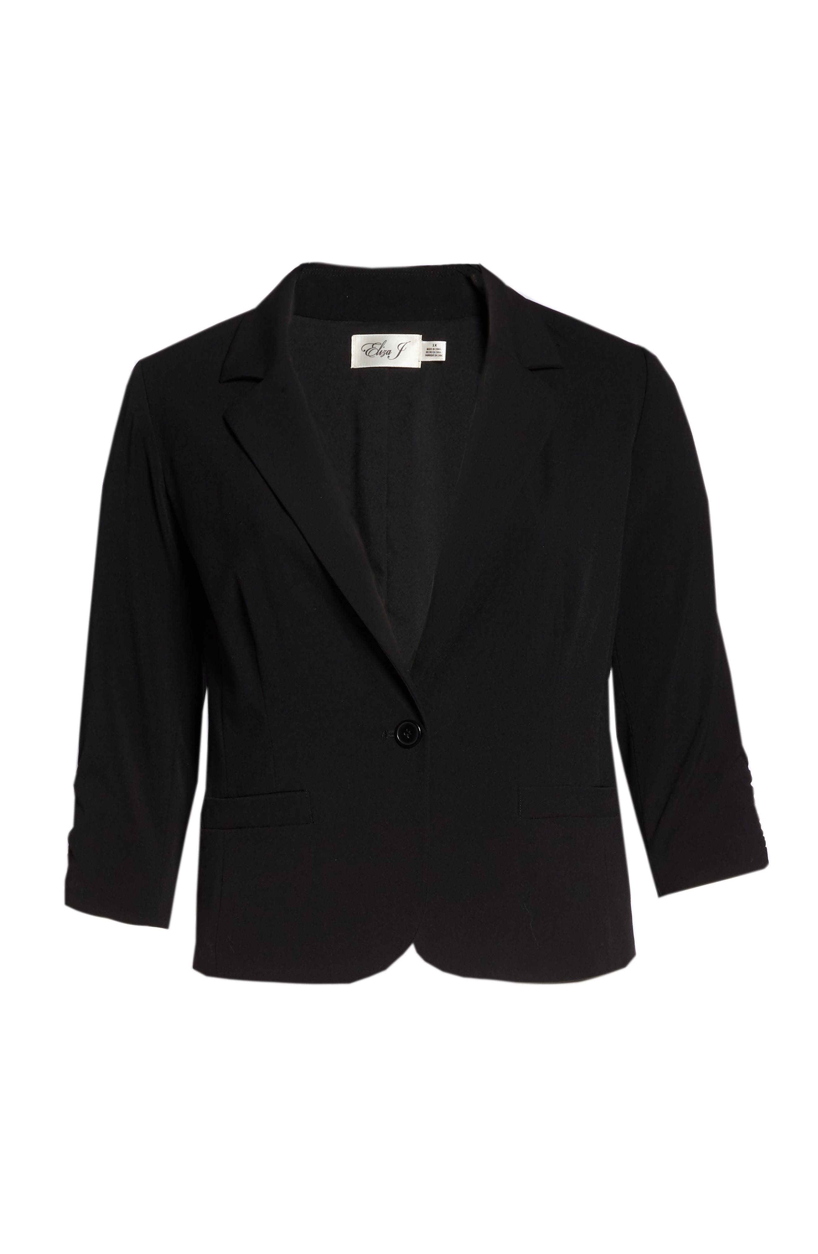 Ruched Sleeve Blazer,                             Alternate thumbnail 7, color,                             BLACK