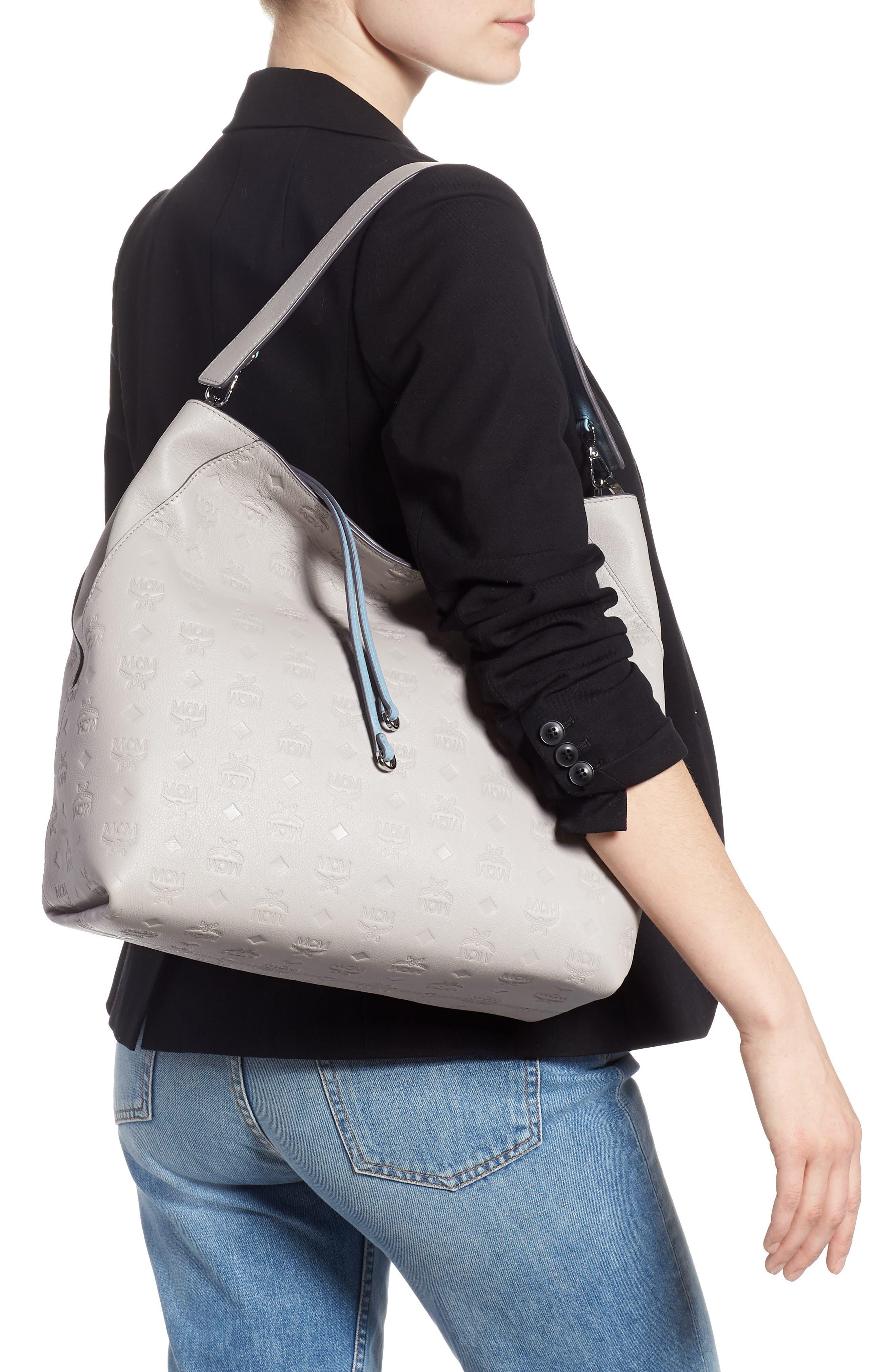 Klara Monogrammed Leather Hobo Bag,                             Alternate thumbnail 3, color,                             DOVE