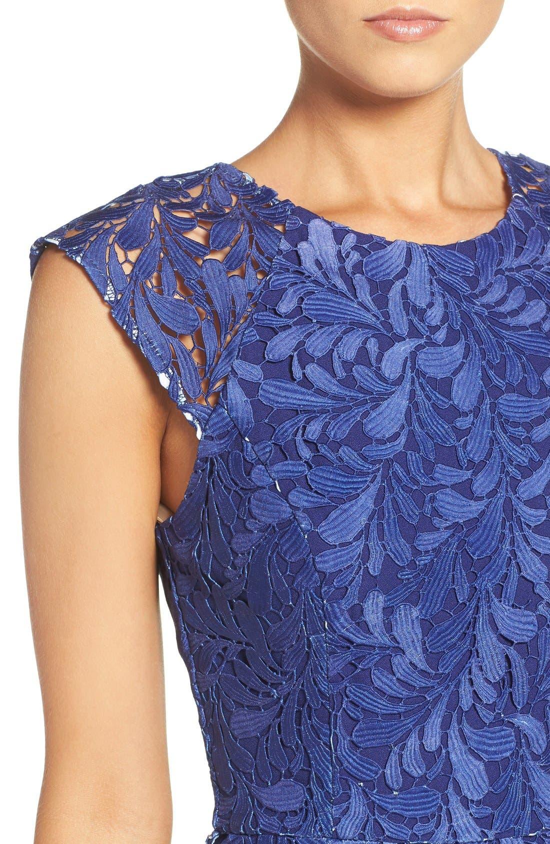 Ombré Lace Sheath Dress,                             Alternate thumbnail 3, color,                             400