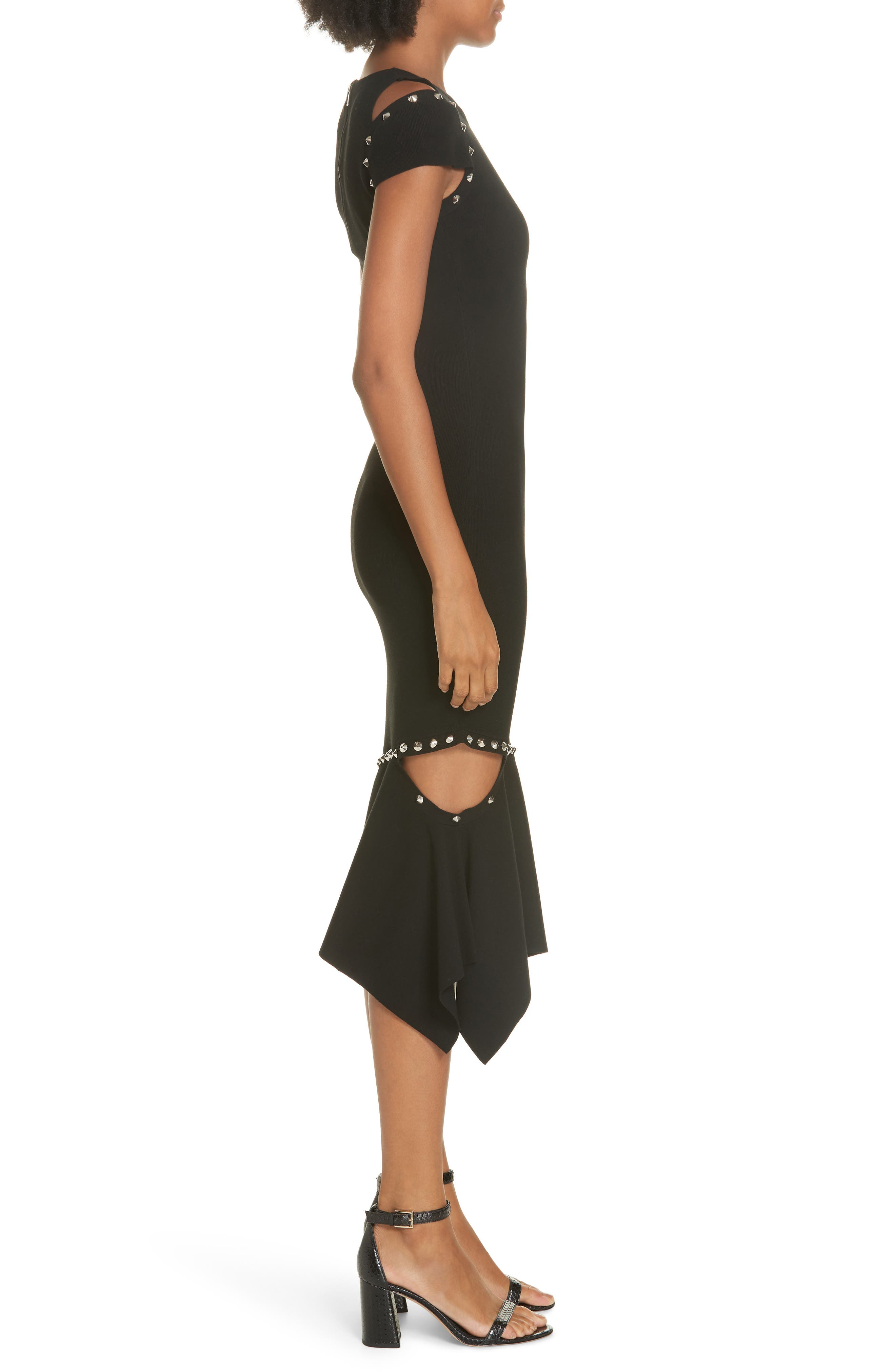 Ameera Studded Midi Dress,                             Alternate thumbnail 3, color,                             BLACK