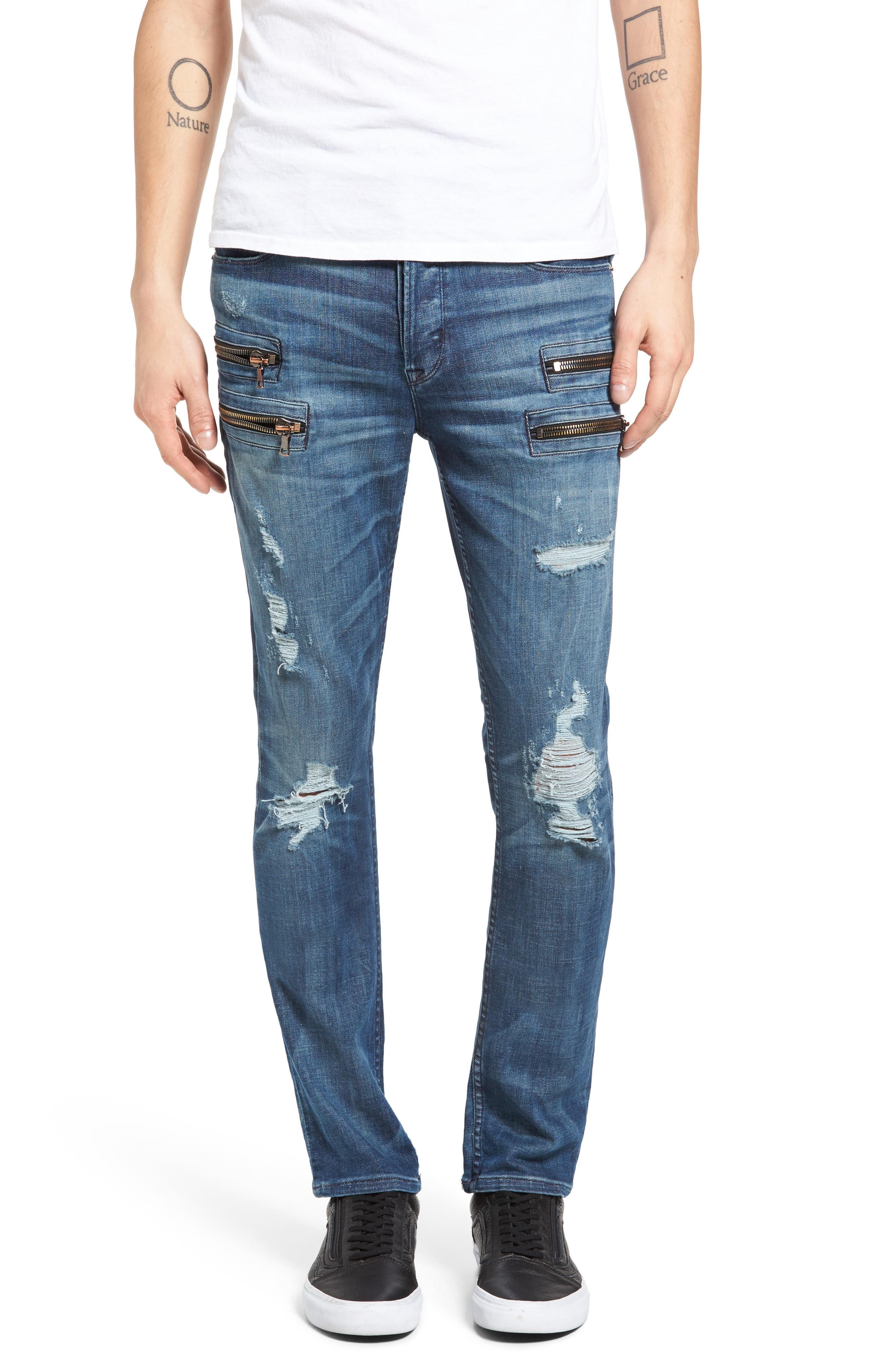 Broderick Biker Skinny Fit Jeans,                             Main thumbnail 1, color,                             455