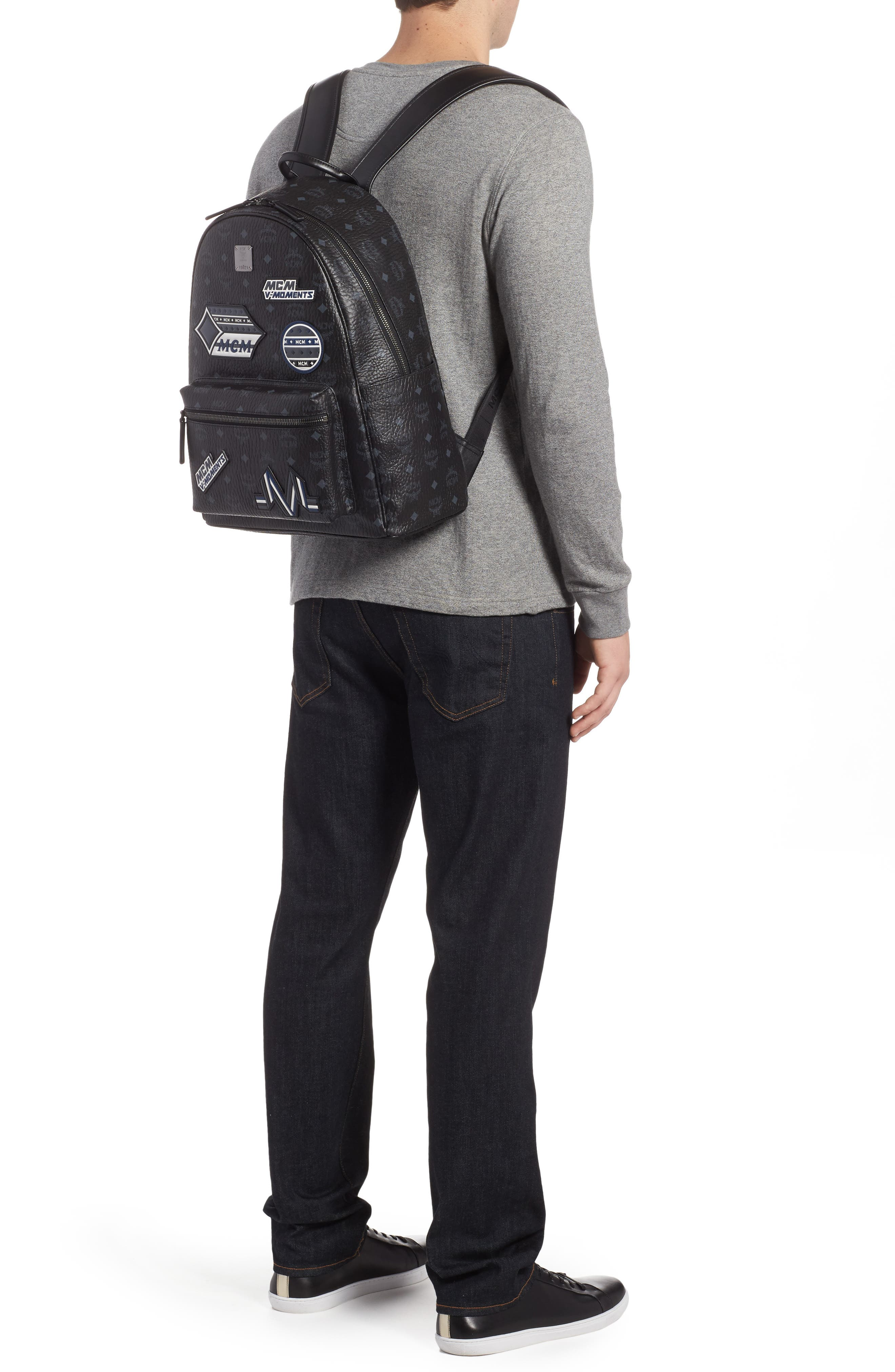 Stark Visetos Patch Faux Leather Backpack,                             Alternate thumbnail 2, color,