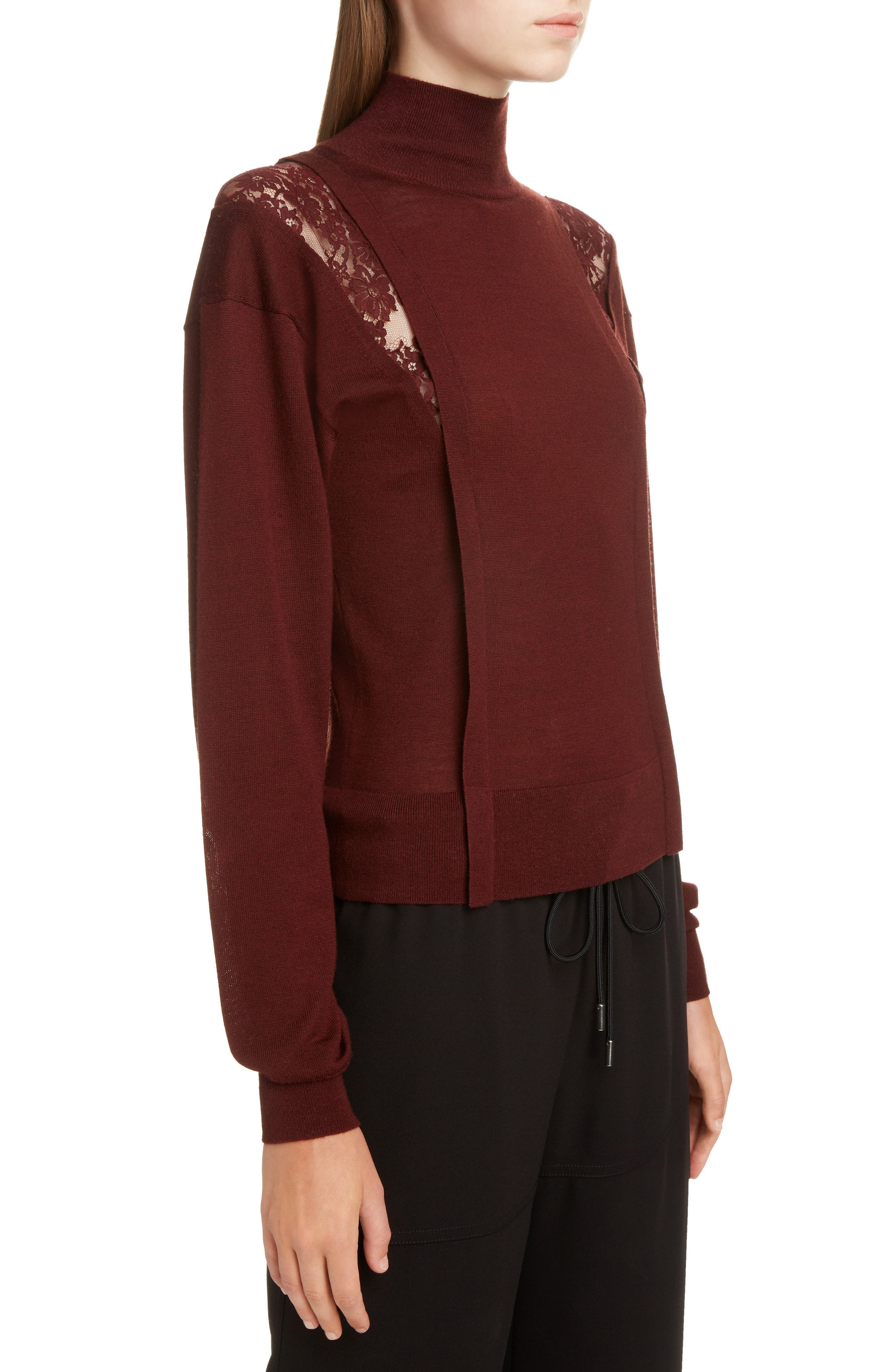 Lace Inset Wool & Silk Sweater,                             Alternate thumbnail 4, color,                             DARK RED
