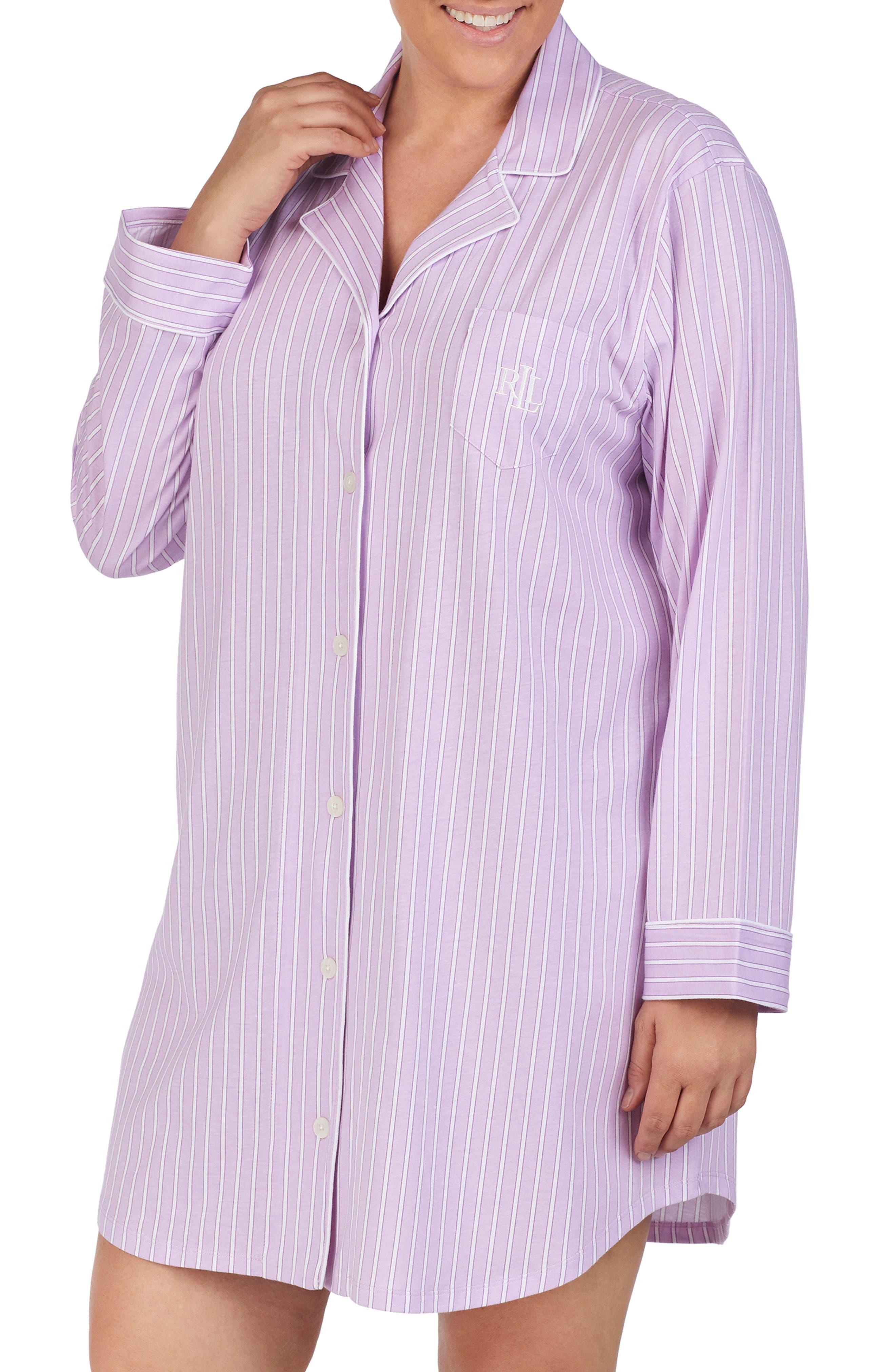 Plus Size Lauren Ralph Lauren His Striped Sleep Shirt