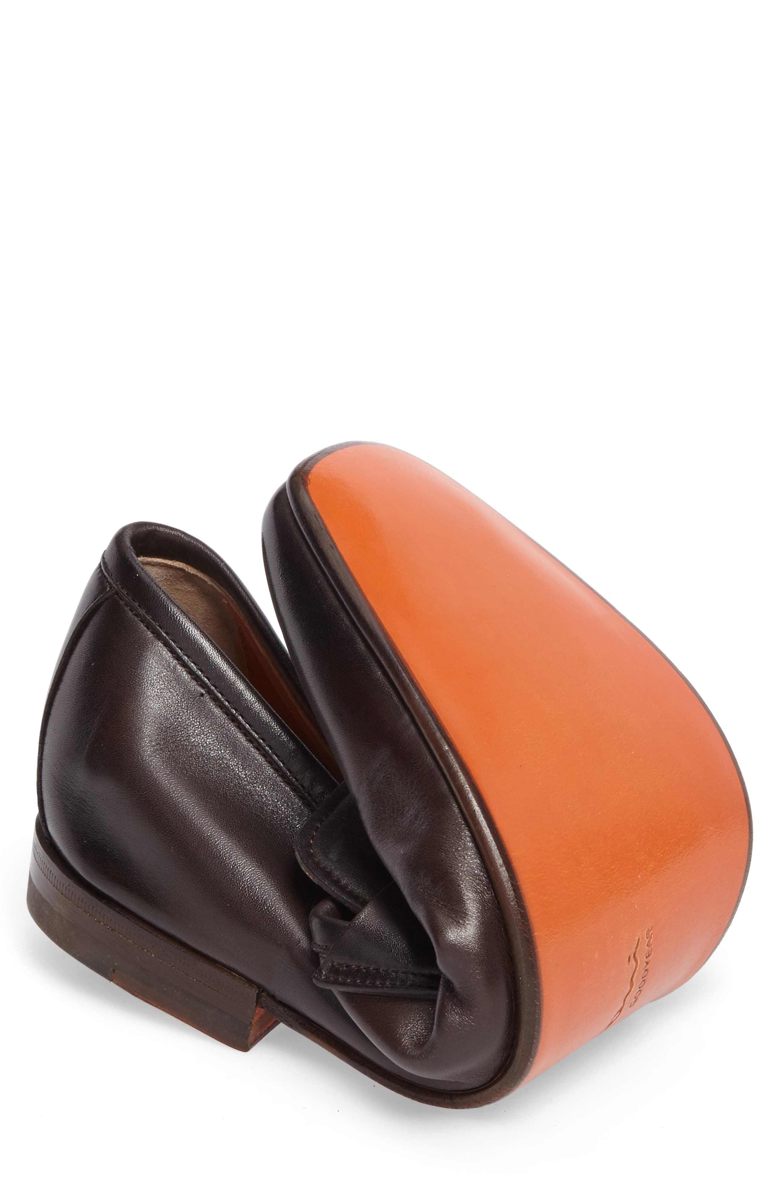 Fox Packable Penny Loafer,                             Alternate thumbnail 7, color,                             DARK BROWN LEATHER