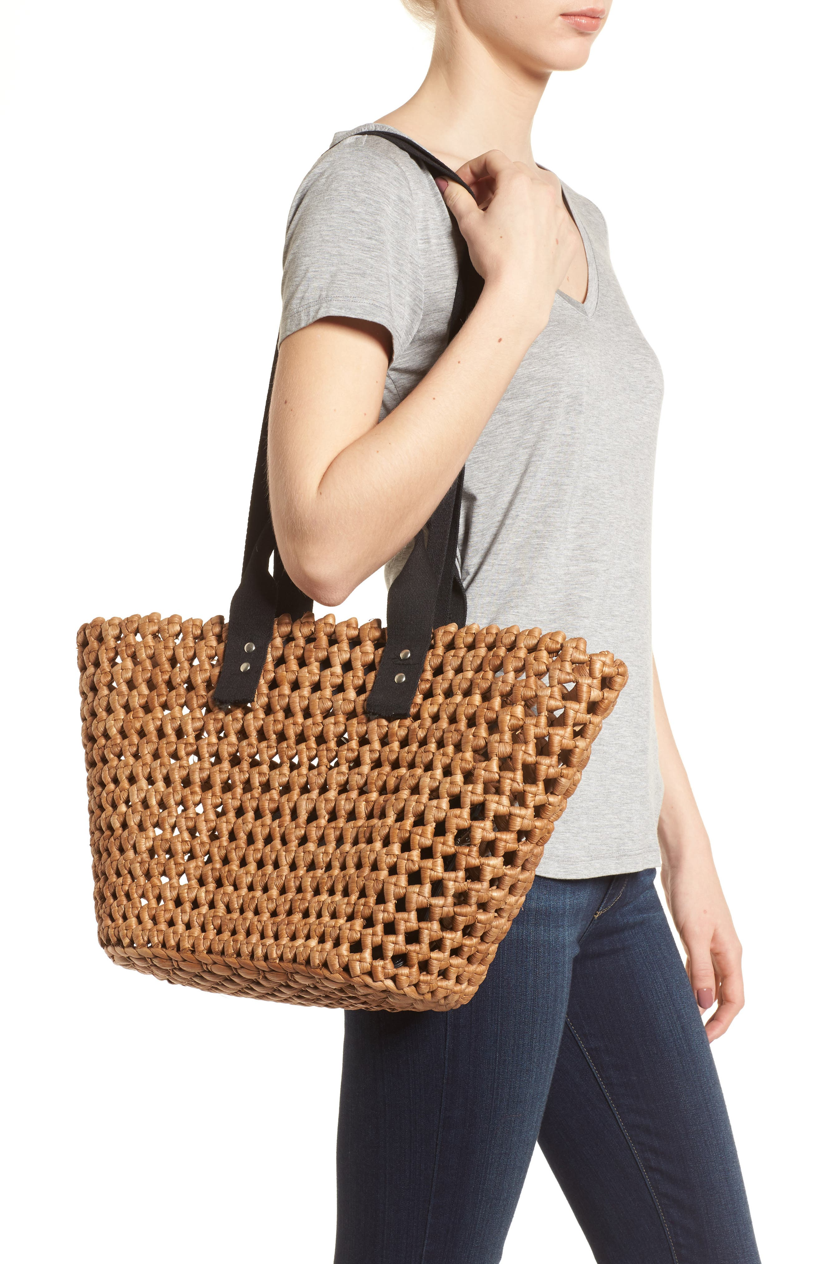 Open Weave Straw Tote,                             Alternate thumbnail 2, color,                             235