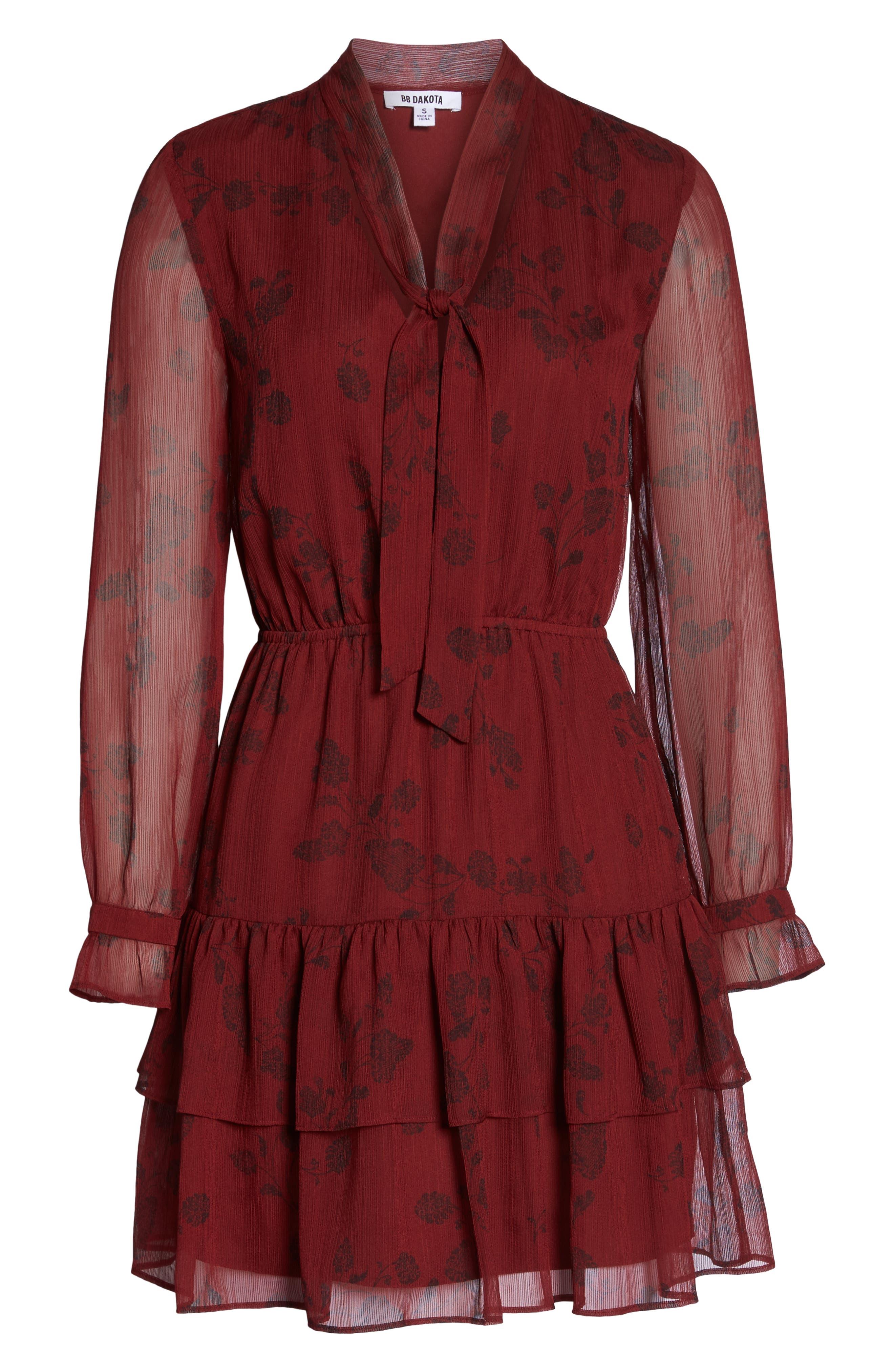 BB DAKOTA,                             Wine Down Print Chiffon Dress,                             Alternate thumbnail 7, color,                             SUNDRIED TOMATO