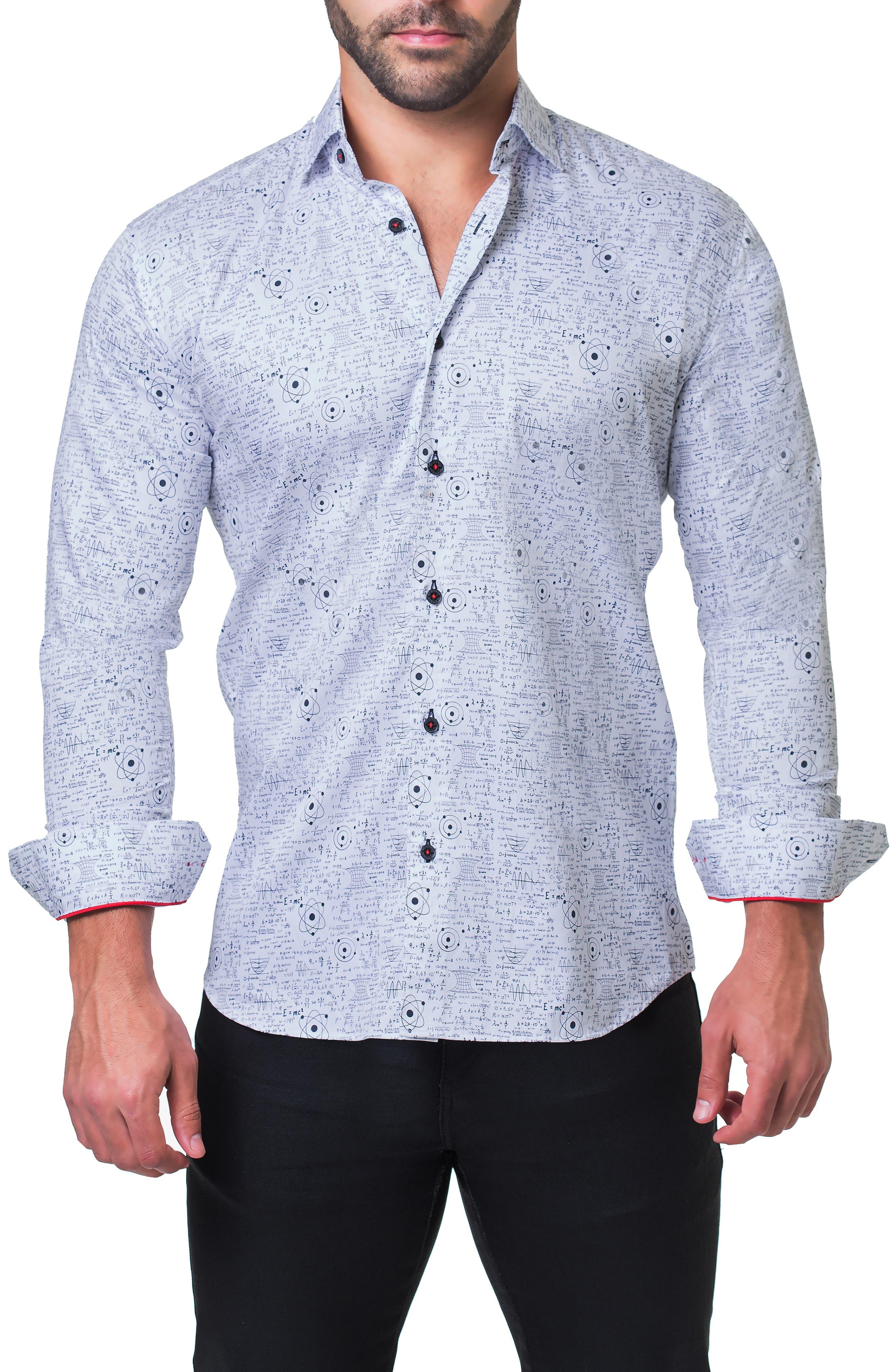 Fibonacci Genius Trim Fit Sport Shirt,                             Alternate thumbnail 4, color,                             WHITE