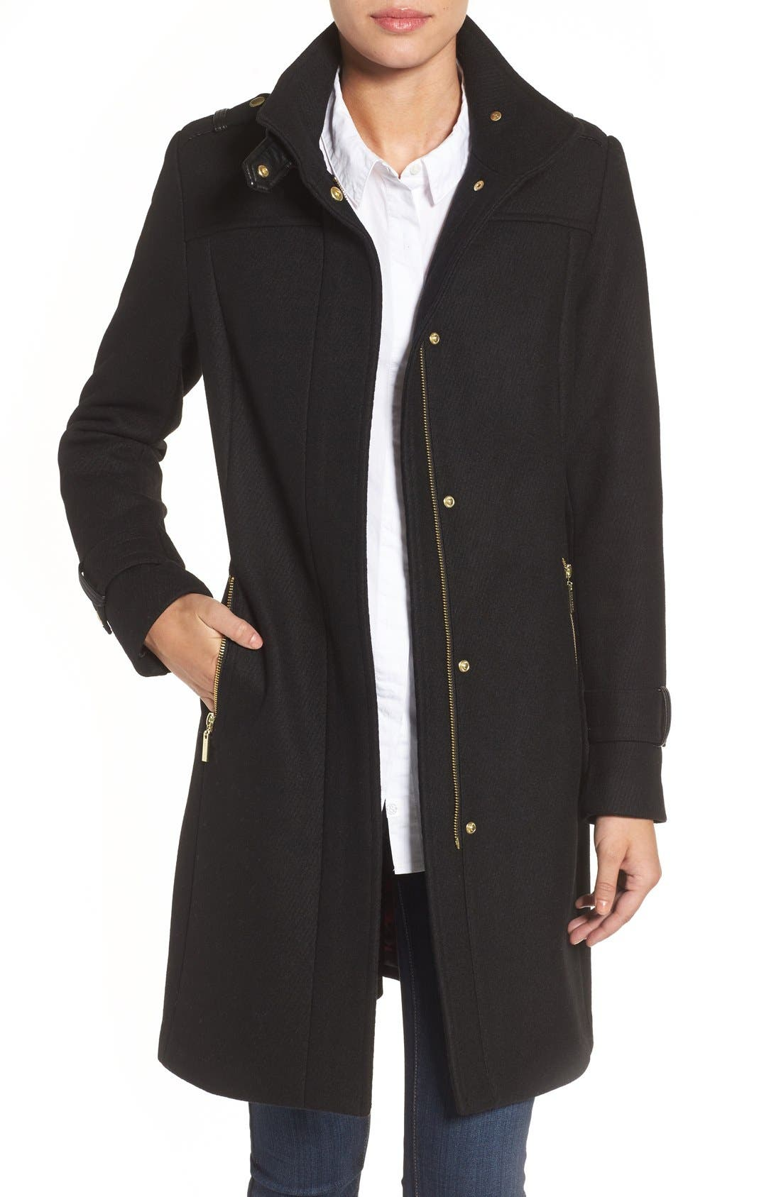 Cole Haan Funnel Neck Wool Blend Coat,                         Main,                         color, 001