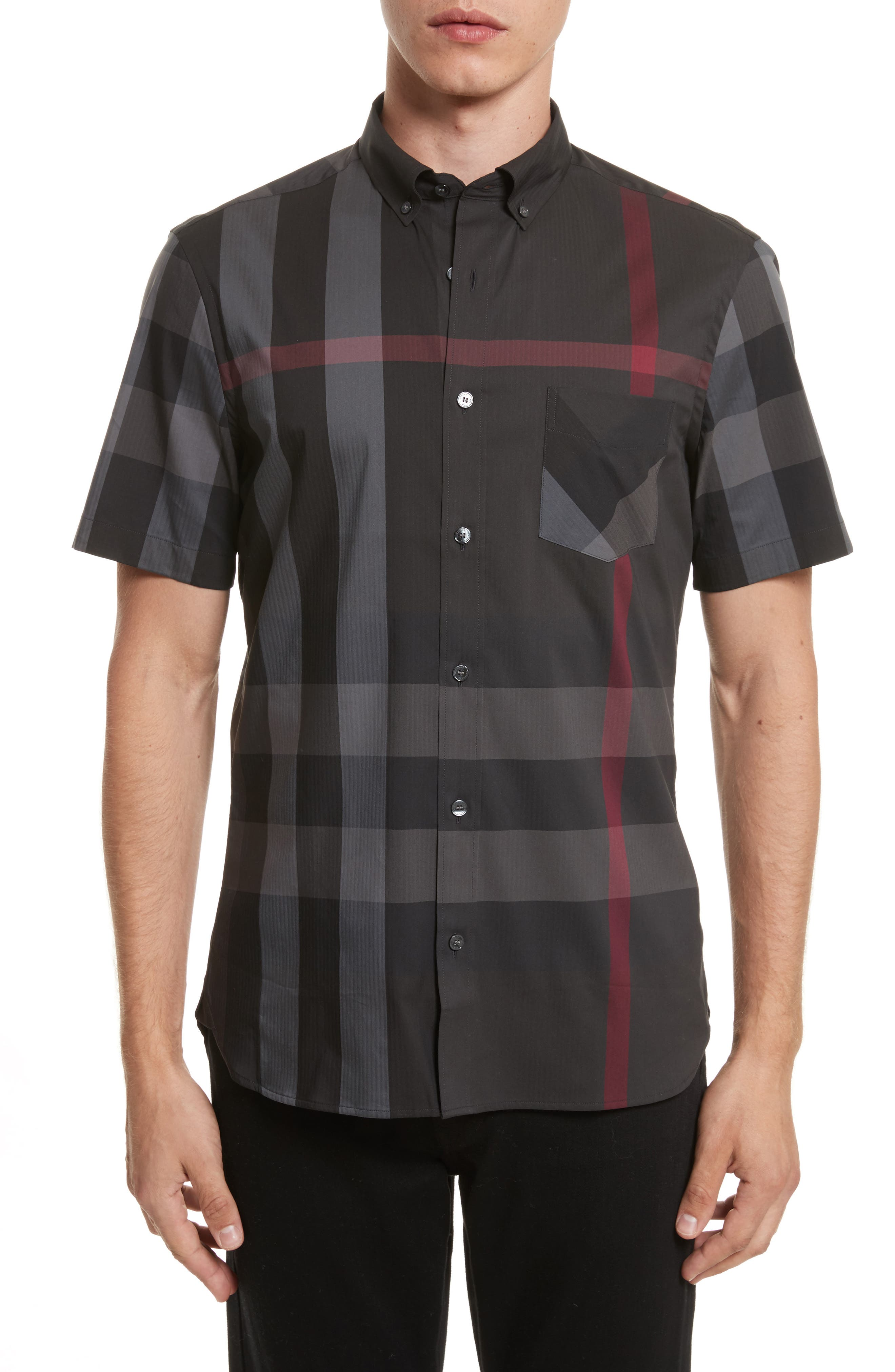 BURBERRY Thornaby Trim Fit Check Sport Shirt, Main, color, 026