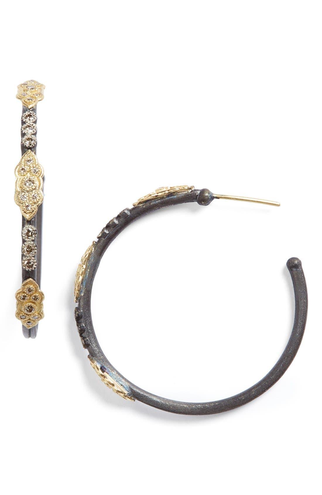 Old World Diamond Hoop Earrings,                             Main thumbnail 1, color,                             GOLD