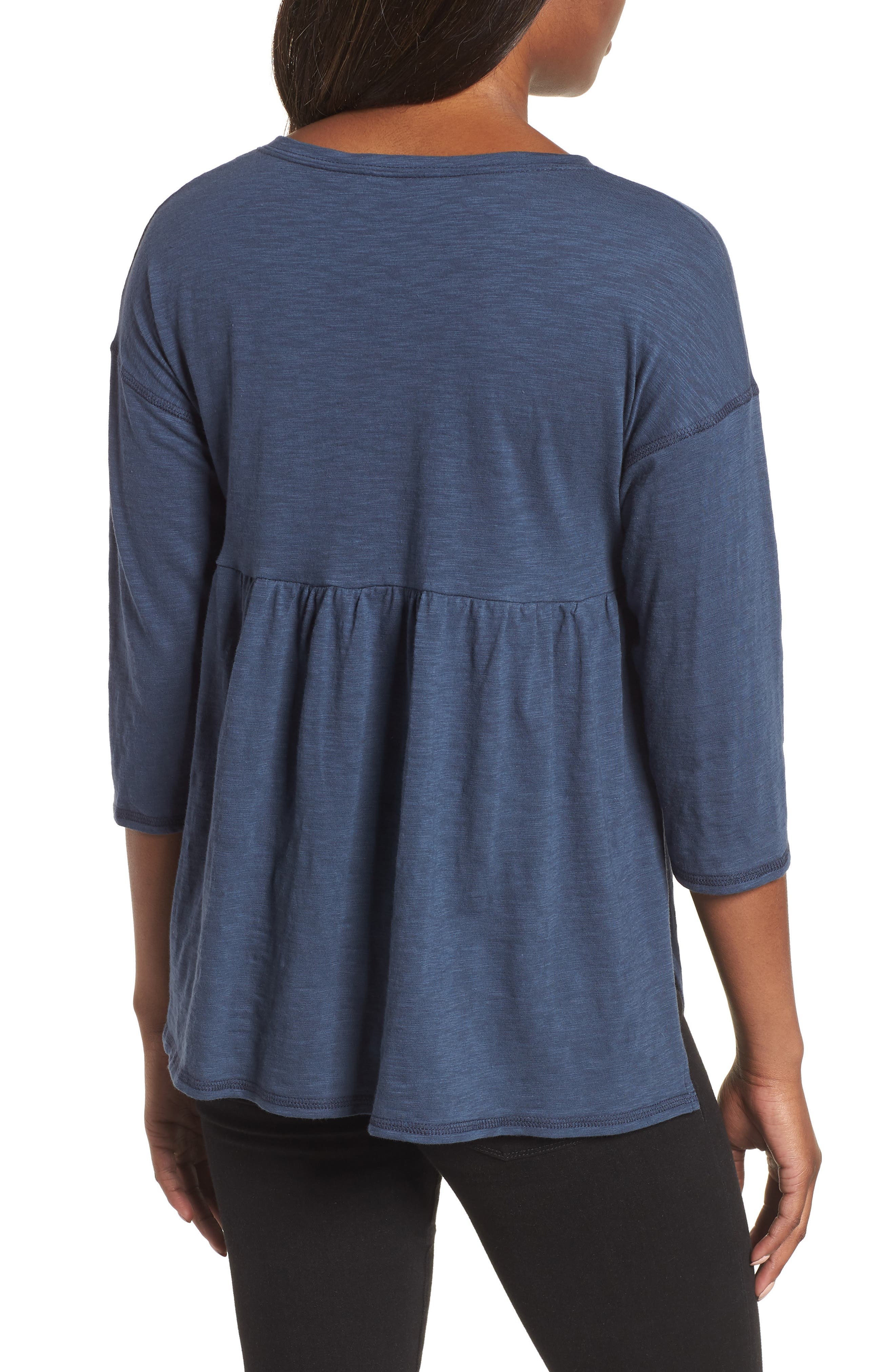 Off-Duty Cotton Three-Quarter Sleeve Tee,                             Alternate thumbnail 4, color,