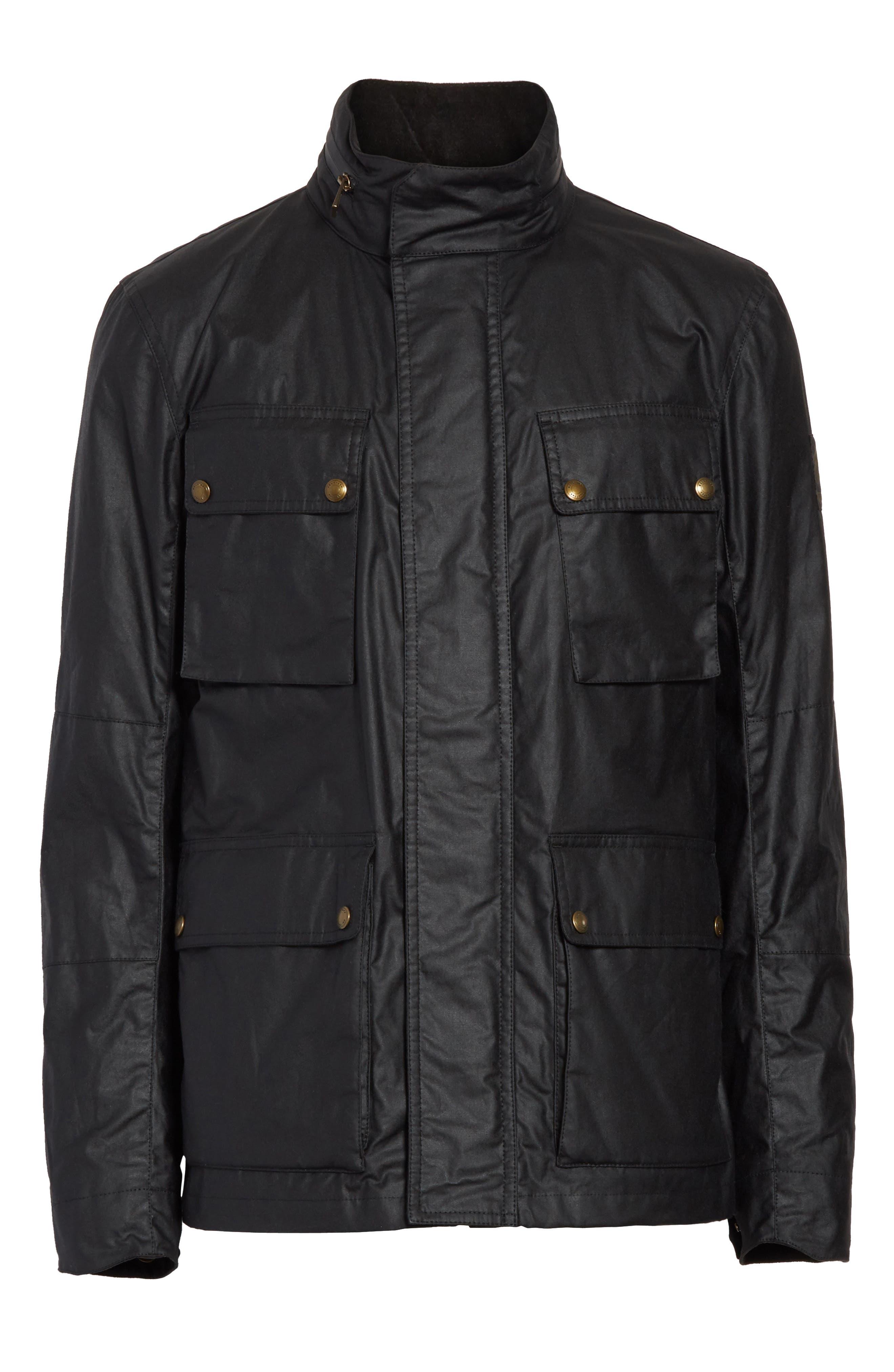 Explorer Waxed Cotton Jacket,                             Alternate thumbnail 5, color,                             BLACK